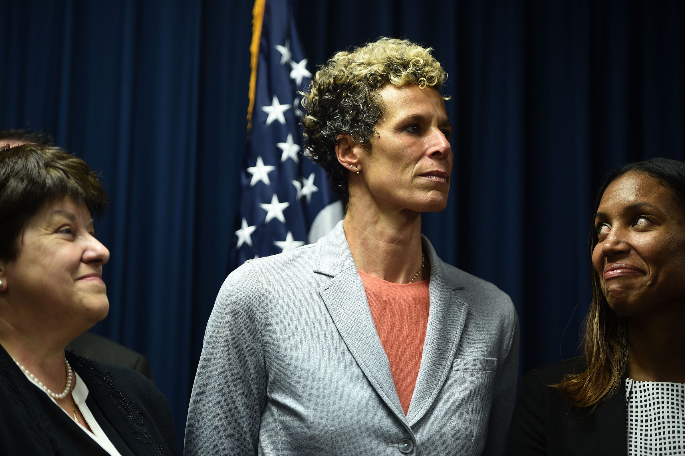 Andrea Constand, center, at a press conference on Sept. 25, 2018 in Norristown, Pa., after comedian Bill Cosby was sentenced to at least three years in prison.