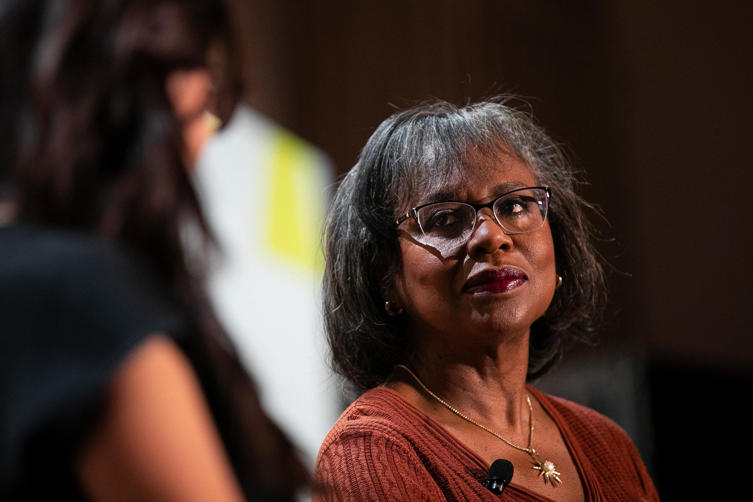 Anita Hill speaks during the New Rules Summit in Brooklyn, N.Y., on June 13, 2019.