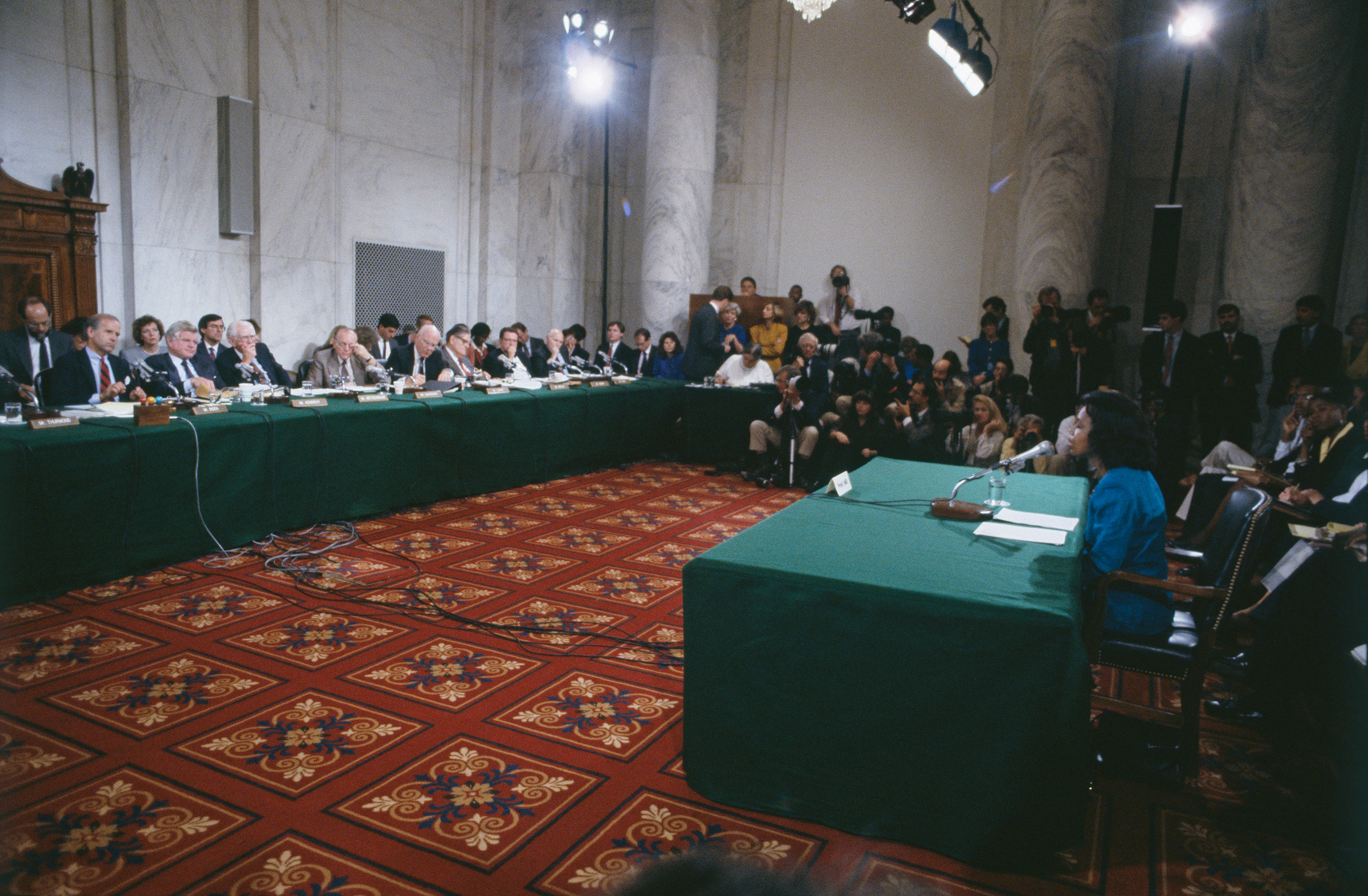 Anita Hill testifies before the Senate Judiciary Committee, chaired by Joe Biden, on the nomination of Clarence Thomas to the Supreme Court on Capitol Hill in Washington, D.C., on Oct. 11, 1991.