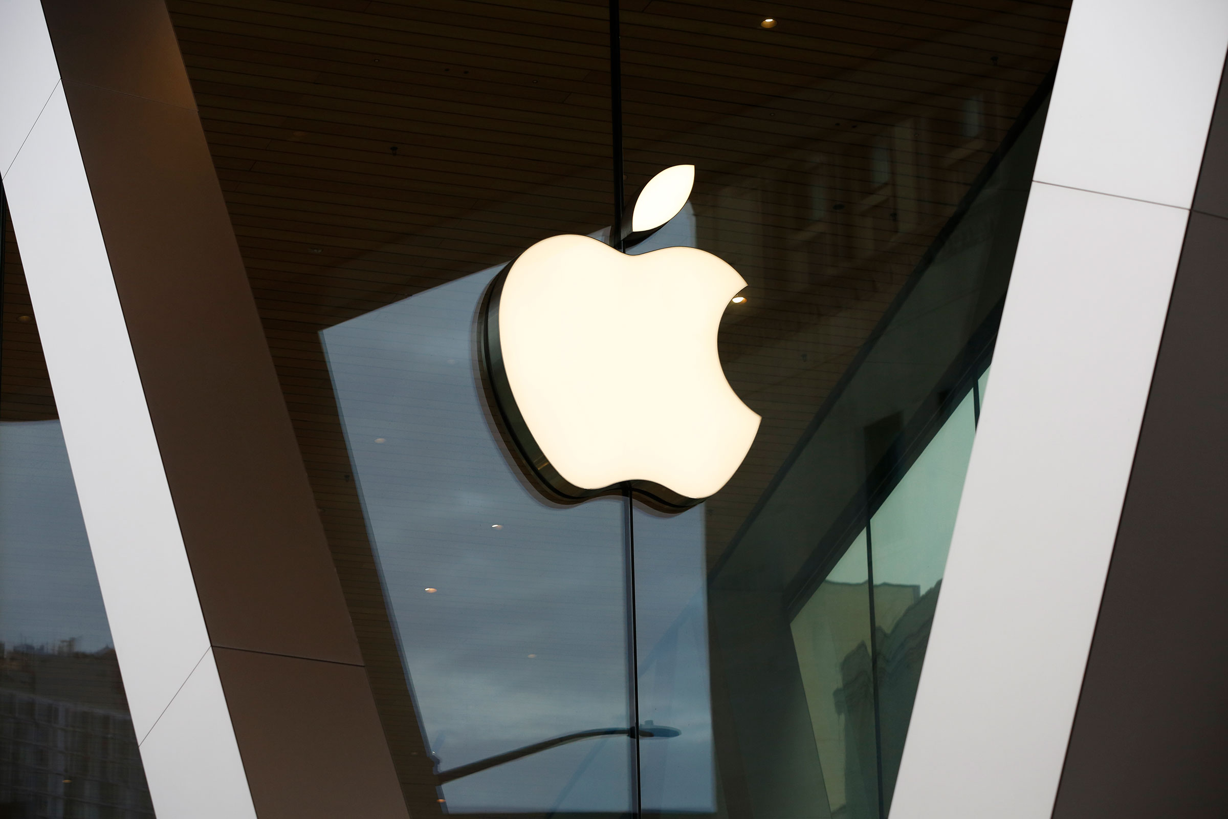 An Apple logo adorns the facade of the downtown Brooklyn Apple store in New York.
