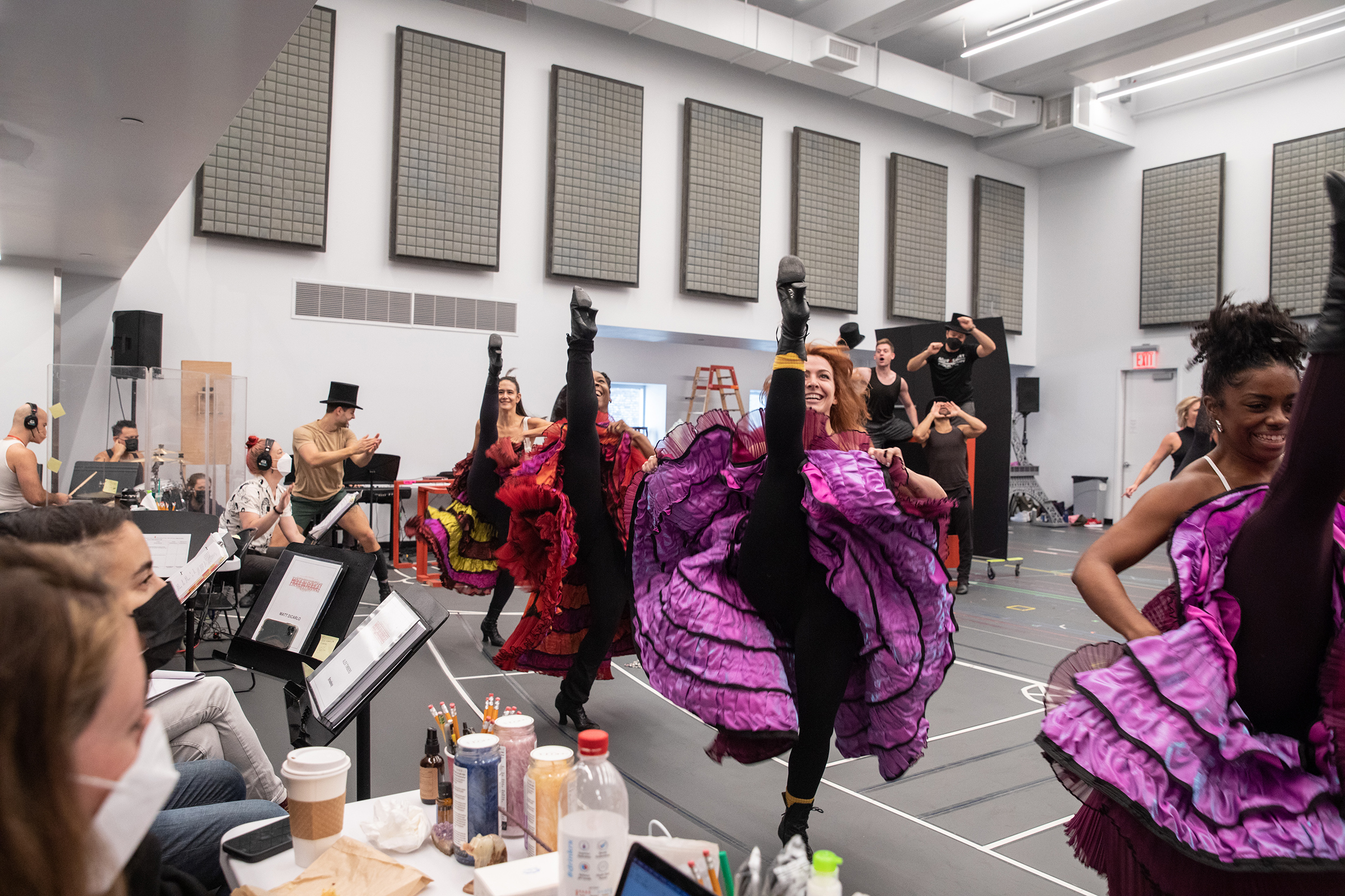 Ensemble members doing the can-can during the Moulin Rouge! The Musical run-through in the studio on Sept. 12, 2021.