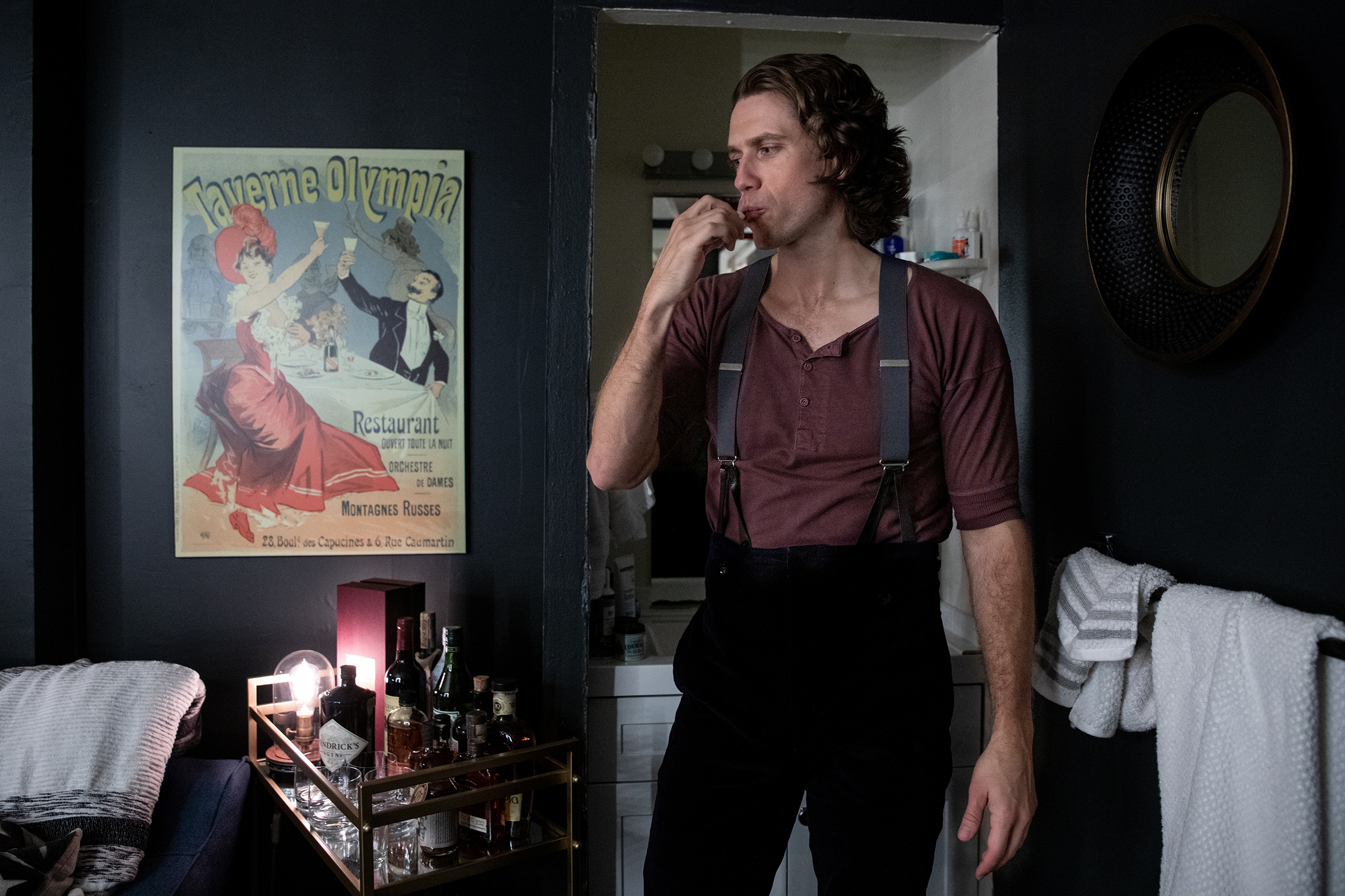 """Actor, Aaron Tveit brushing his teeth in his dressing room before a rehearsal on Sept. 21, 2021. Tveit was the only actor nominated for a 2020 Tony in the category of Best Leading Actor in a Musical for his role as Christian. When asked how he feels about re-opening night of Moulin Rouge! on Sept. 24, 2021, Tveit he mentions this isn't opening for him, """"this is performance number 263."""""""