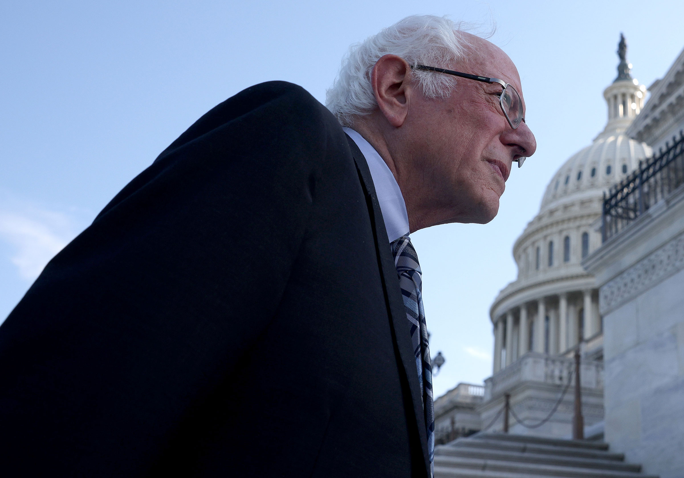 Sen. Bernie Sanders arrives at the Capitol after meeting with President Joe Biden at the White House in Washington, on July 12, 2021.