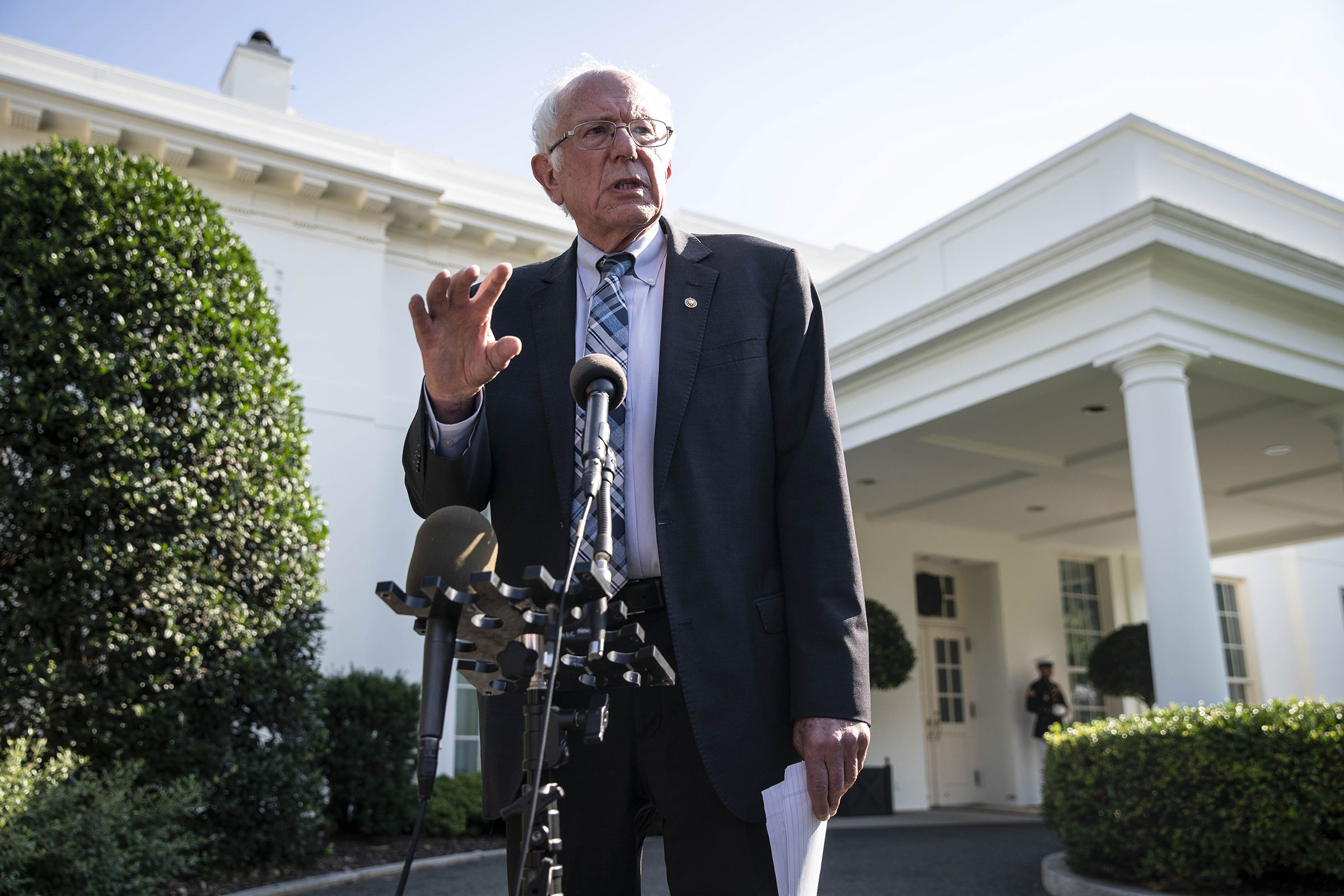Sanders speaks to members of the media following a meeting with President Biden at the White House on July 12.