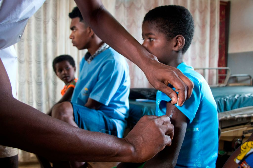 A Malagasy child is inoculated with the measles vaccine in Madagascar on Feb. 27, 2019.
