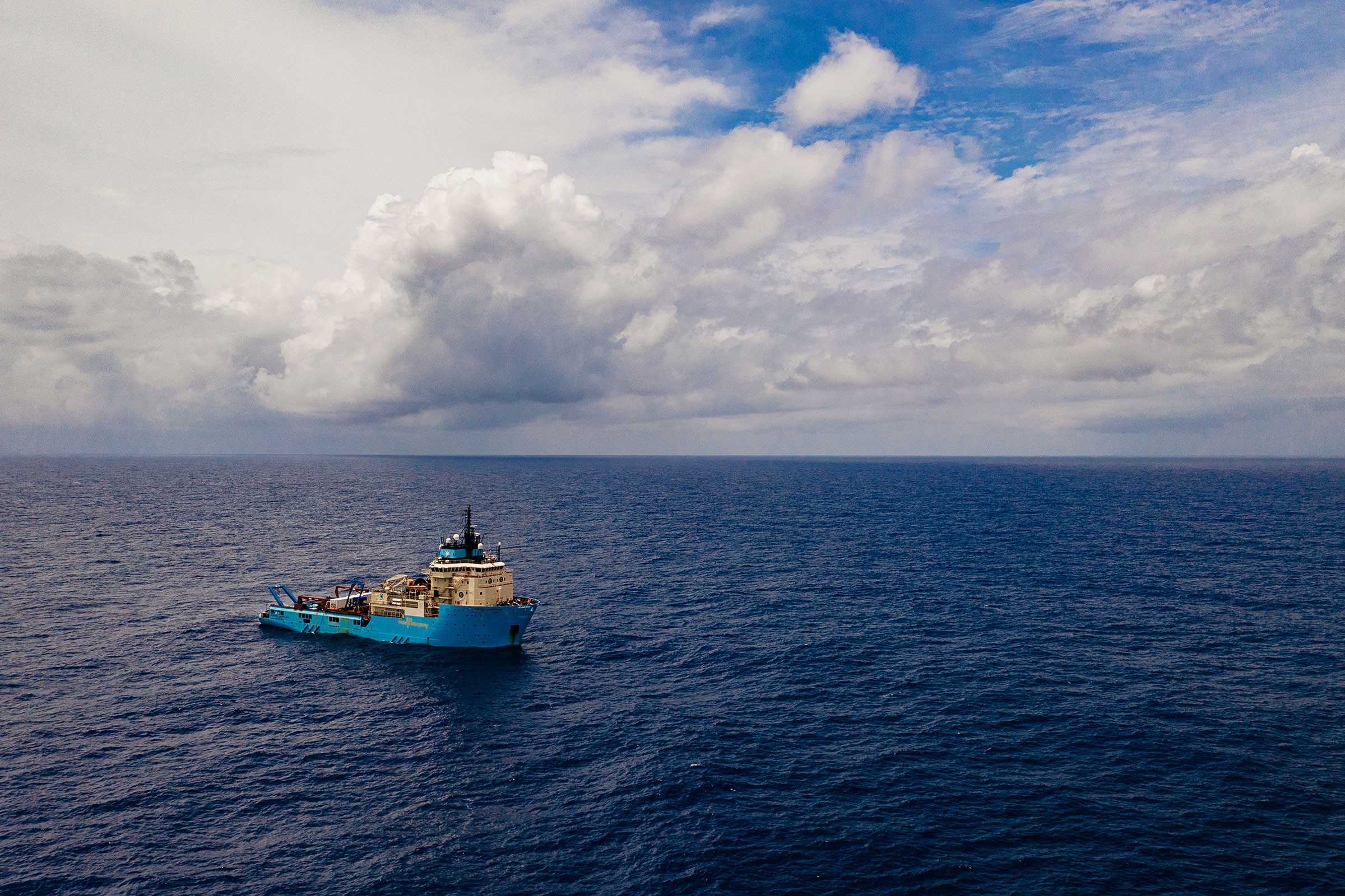 The Metals Company's exploratory vessel, the Maersk Launcher, conducting environmental studies in the CCZ.