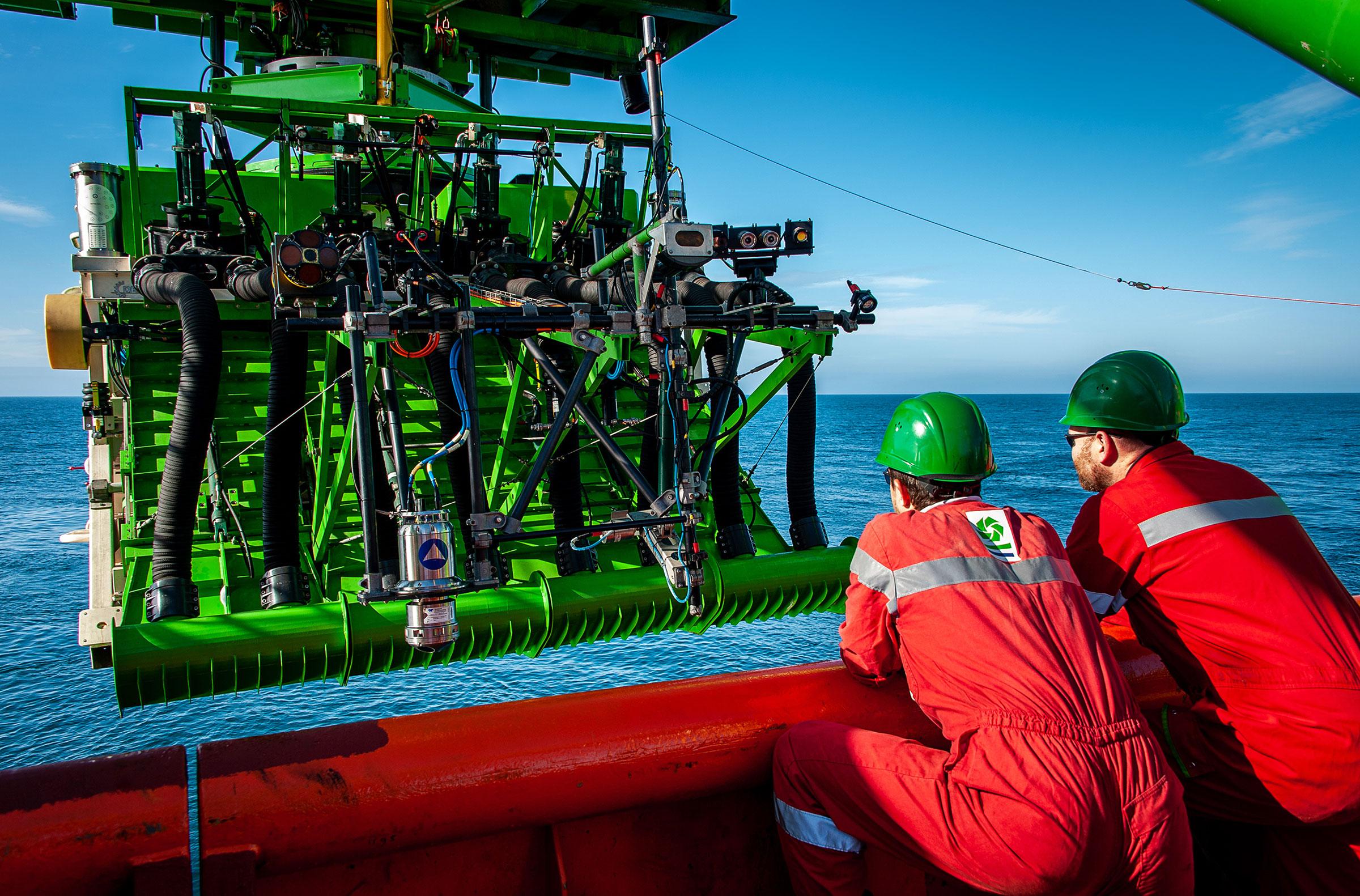 The deployment of Patania II, GSR's 25-metric-ton nodule-collecting robot.