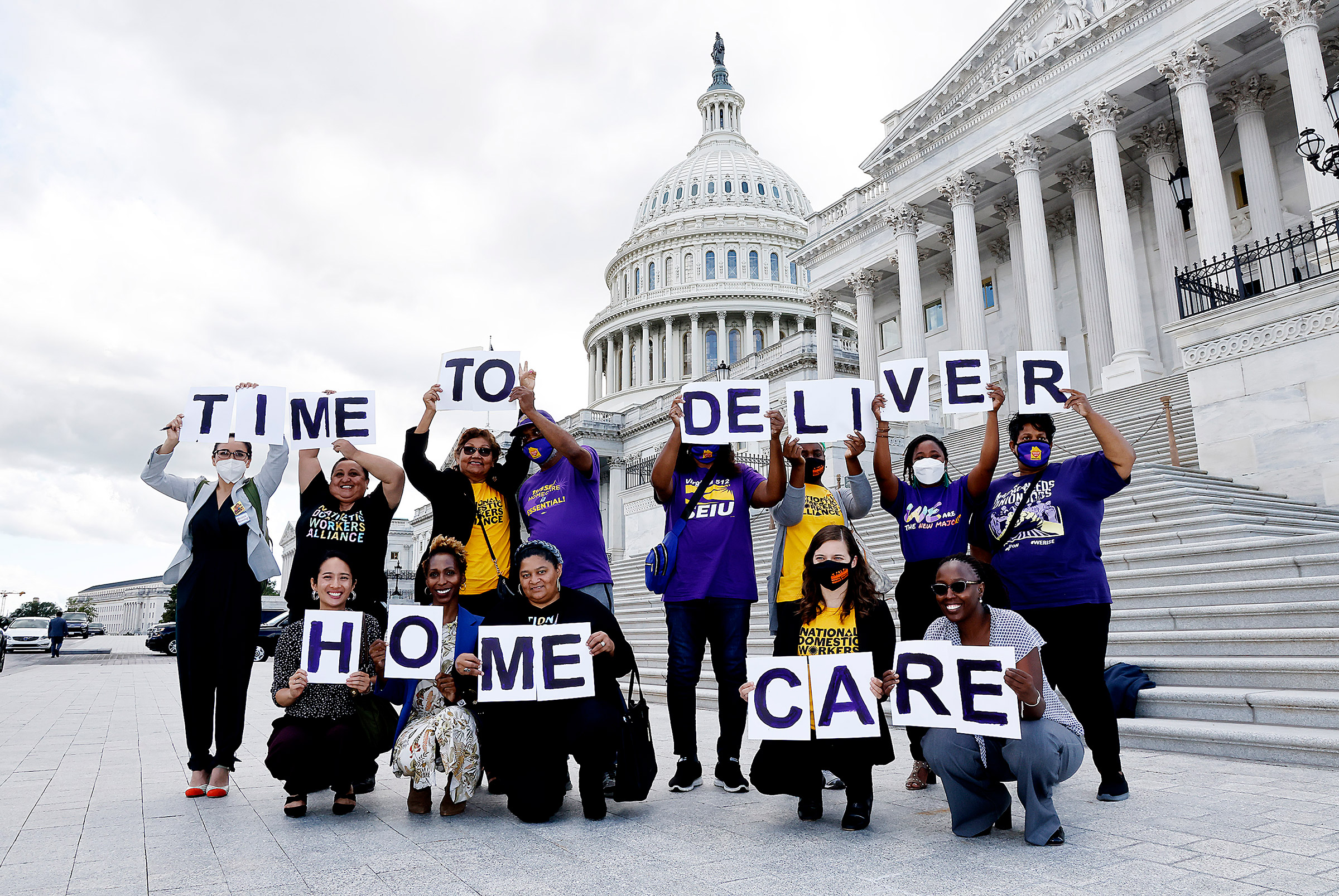 Advocates rally for the Time To Deliver Home Care as part of Build Back Better Act at the Capitol Building in Washington, D.C., on Sept. 23, 2021.