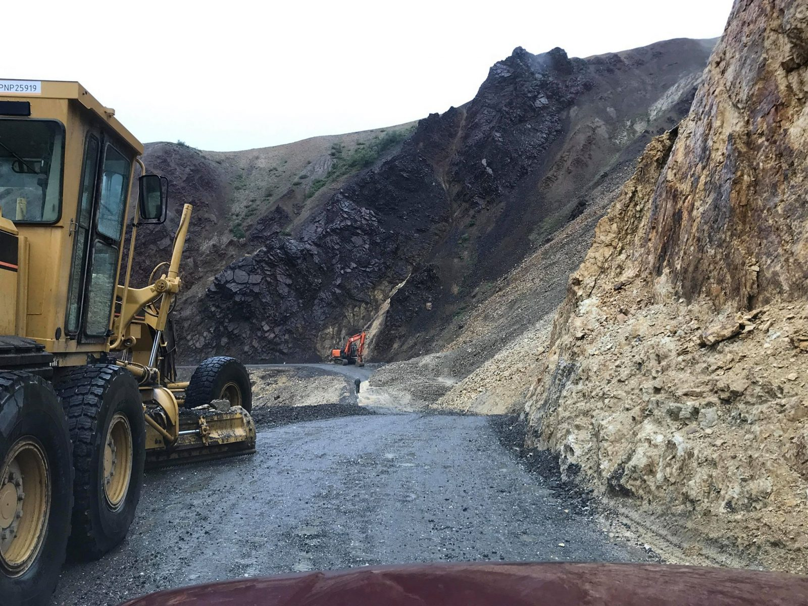 Repairing the one road through Denali National Park after a rock slide in 2019.