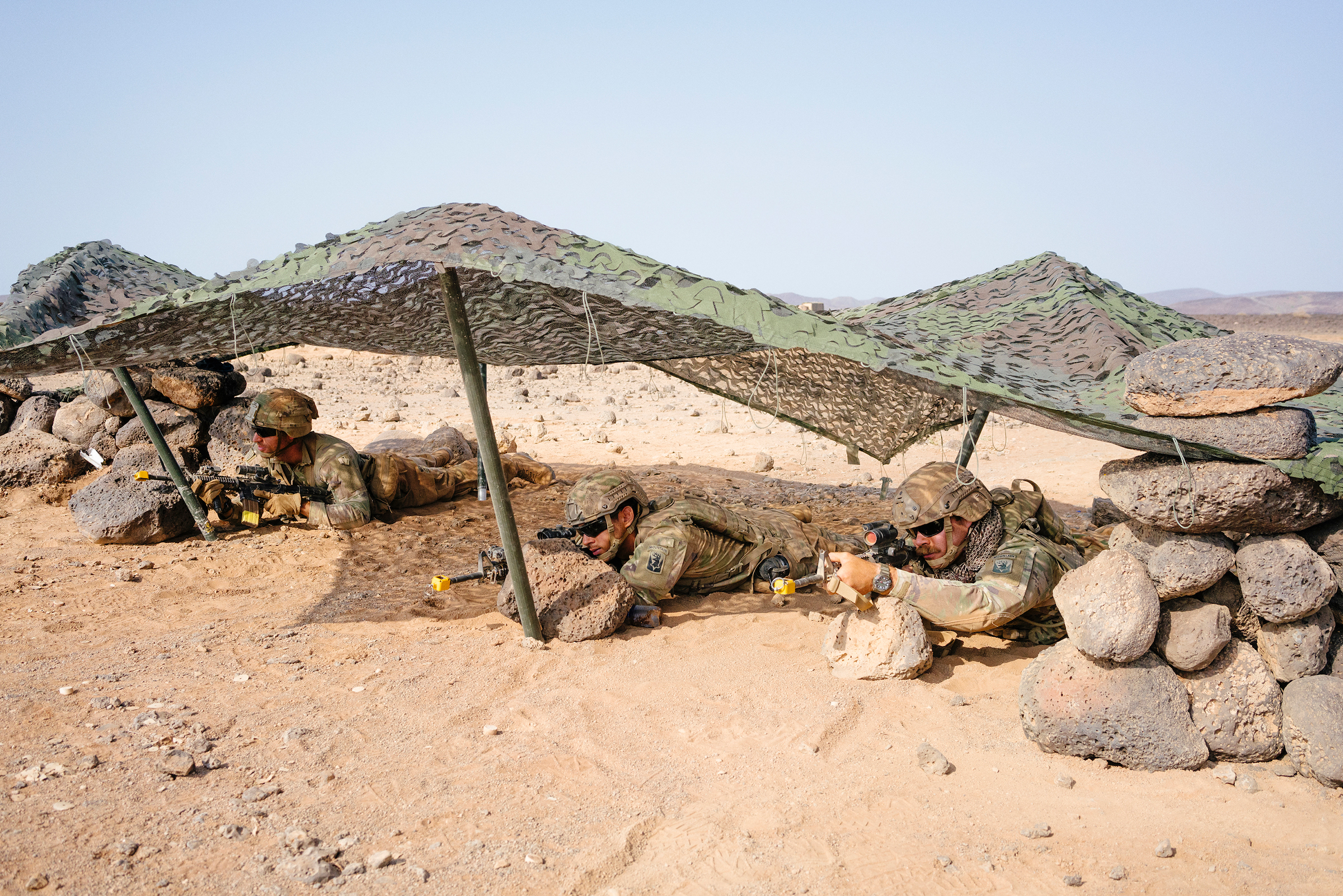 U.S. soldiers during an exercise as part of the French Desert Commando Course.