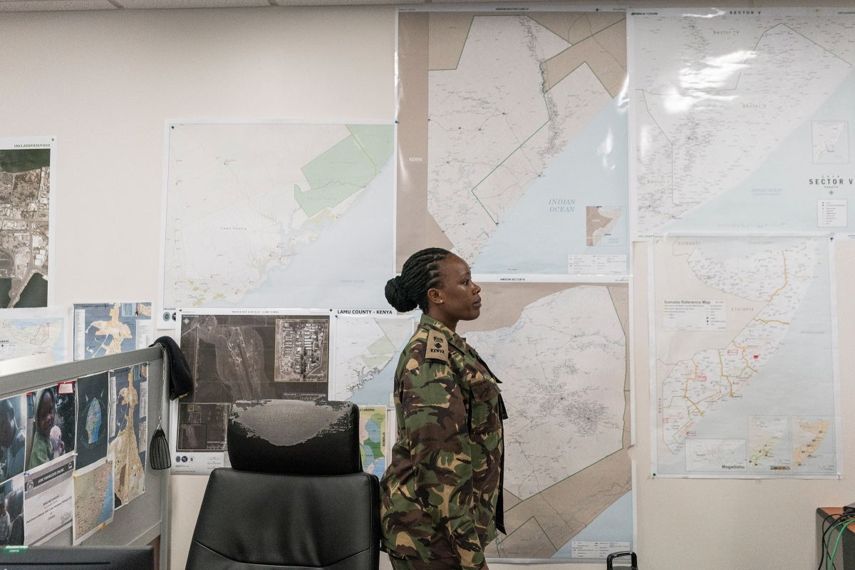 Kenyan Lieut.Colonel Irene Machangoh, who coordinates military planning and operations between the U.S. and Kenya.