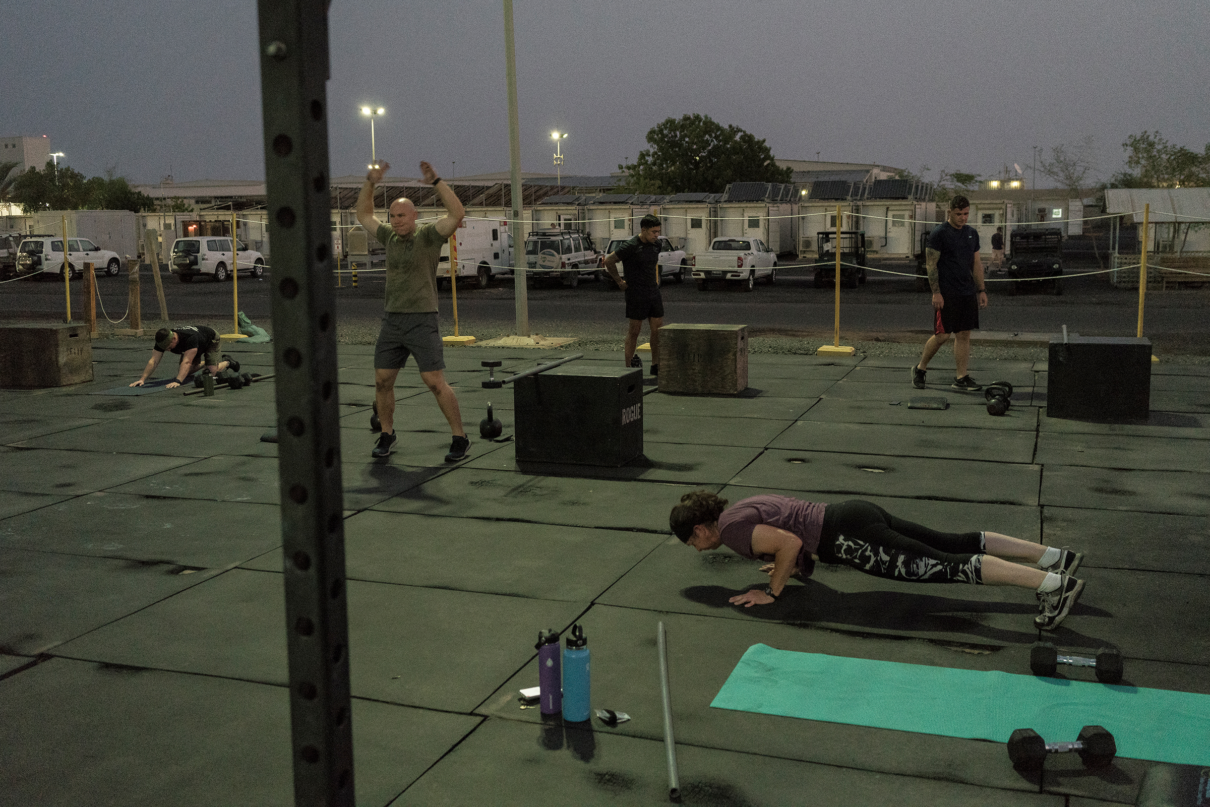 A morning exercise session at the base.