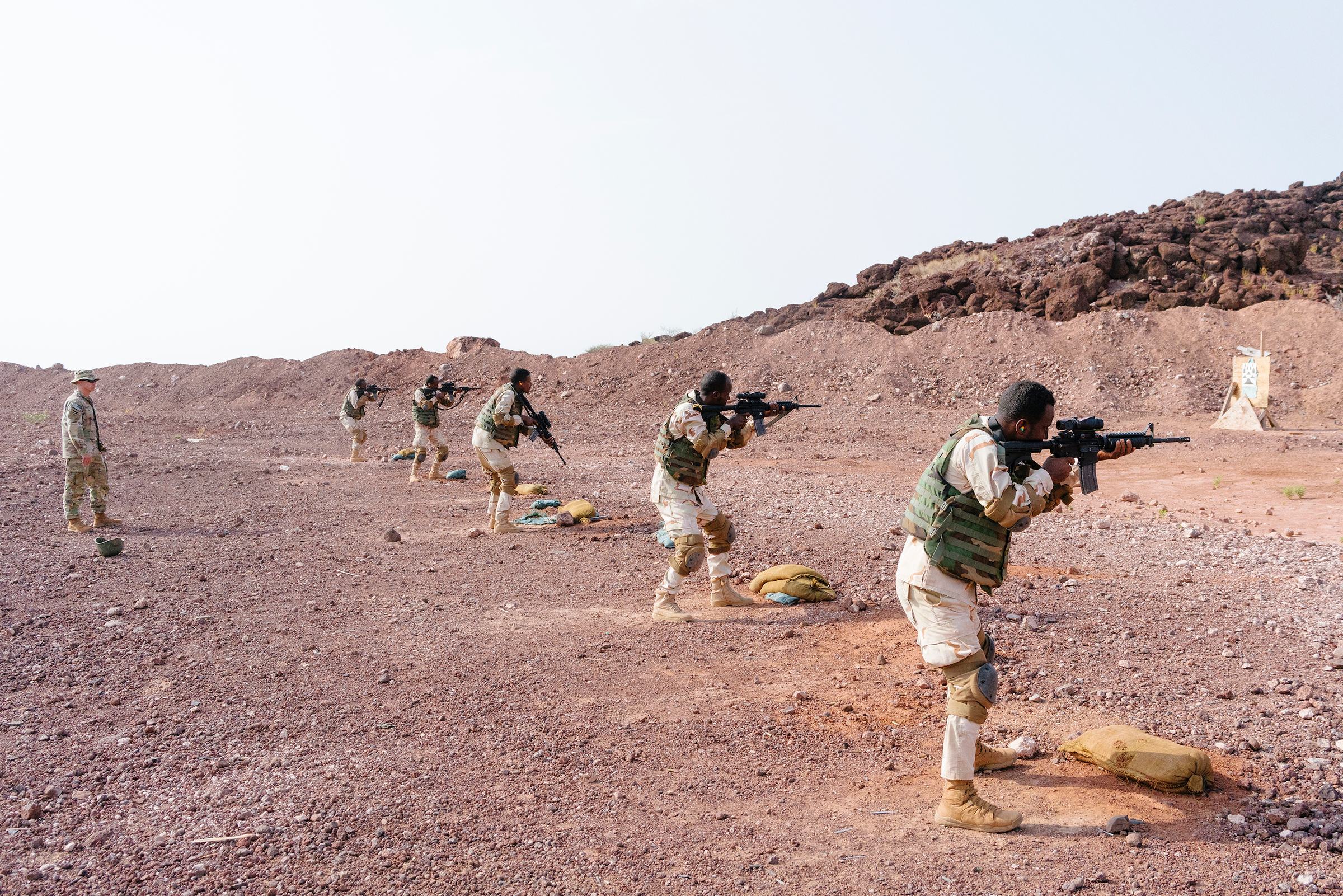 U.S. soldiers oversee marksmanship training of the Djiboutian Bataillon d'Intervention Rapide, an infantry unit equipped with American weaponry.