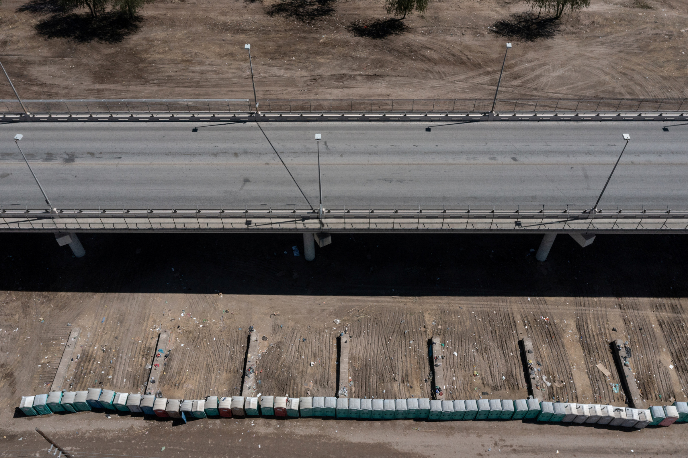 In this drone image, the makeshift migrant border camp near the Del Rio International Bridge is seen after it was cleared, on Sept. 24.
