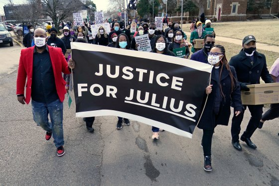 Supporters of Julius Jones, including Rev. Cece Jones-Davis, right, march to the offices of the Oklahoma Pardon and Parole Board in Oklahoma City on Feb. 25, 2021.