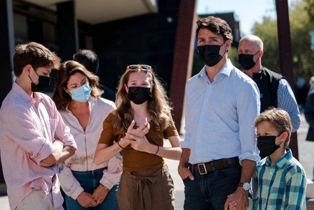 Canadian Prime Minister and Liberal Party leaderJustin Trudeau arrives with his family to cast his vote in the 2021 Canadian election in Montreal, Quebec on Sept. 20, 2021.