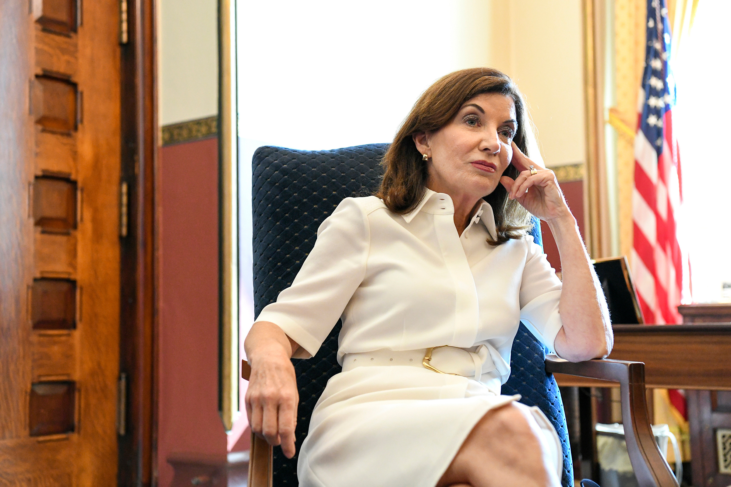Gov. Kathy Hochul in her new office at the New York State Capitol in Albany, N.Y. on  Aug. 24.