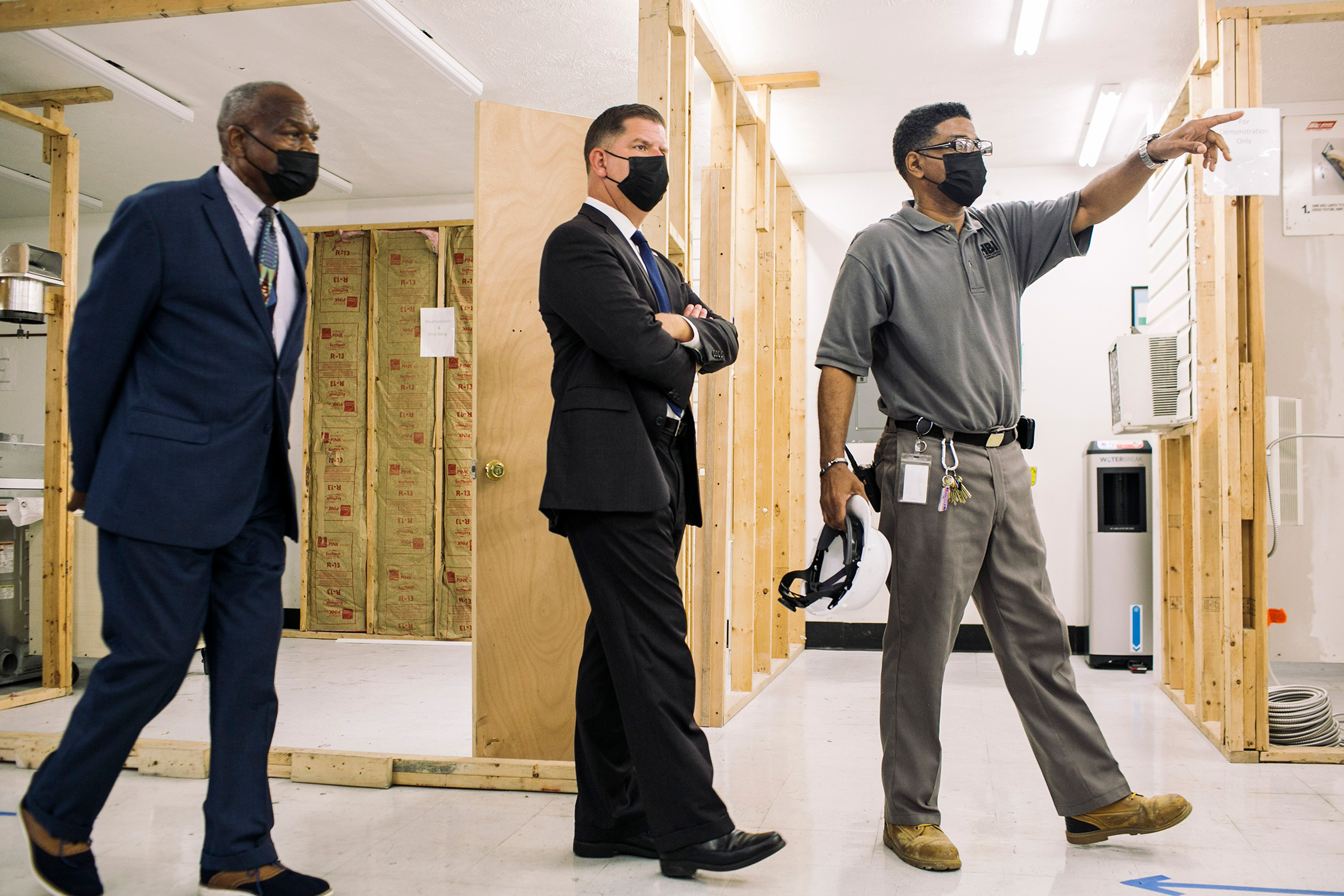 Secretary of Labor Marty Walsh tours the Dayton Jobs Corps Center in Dayton, Ohio, on Aug. 17, 2021, as part of his multi-city tour to tout Joe Biden's plans to help American workers.