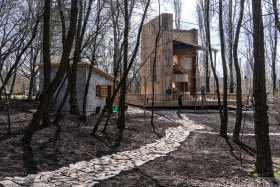 The wooden synagogue, shaped like a book, at the Babyn Yar Holocaust memorial in Kyiv