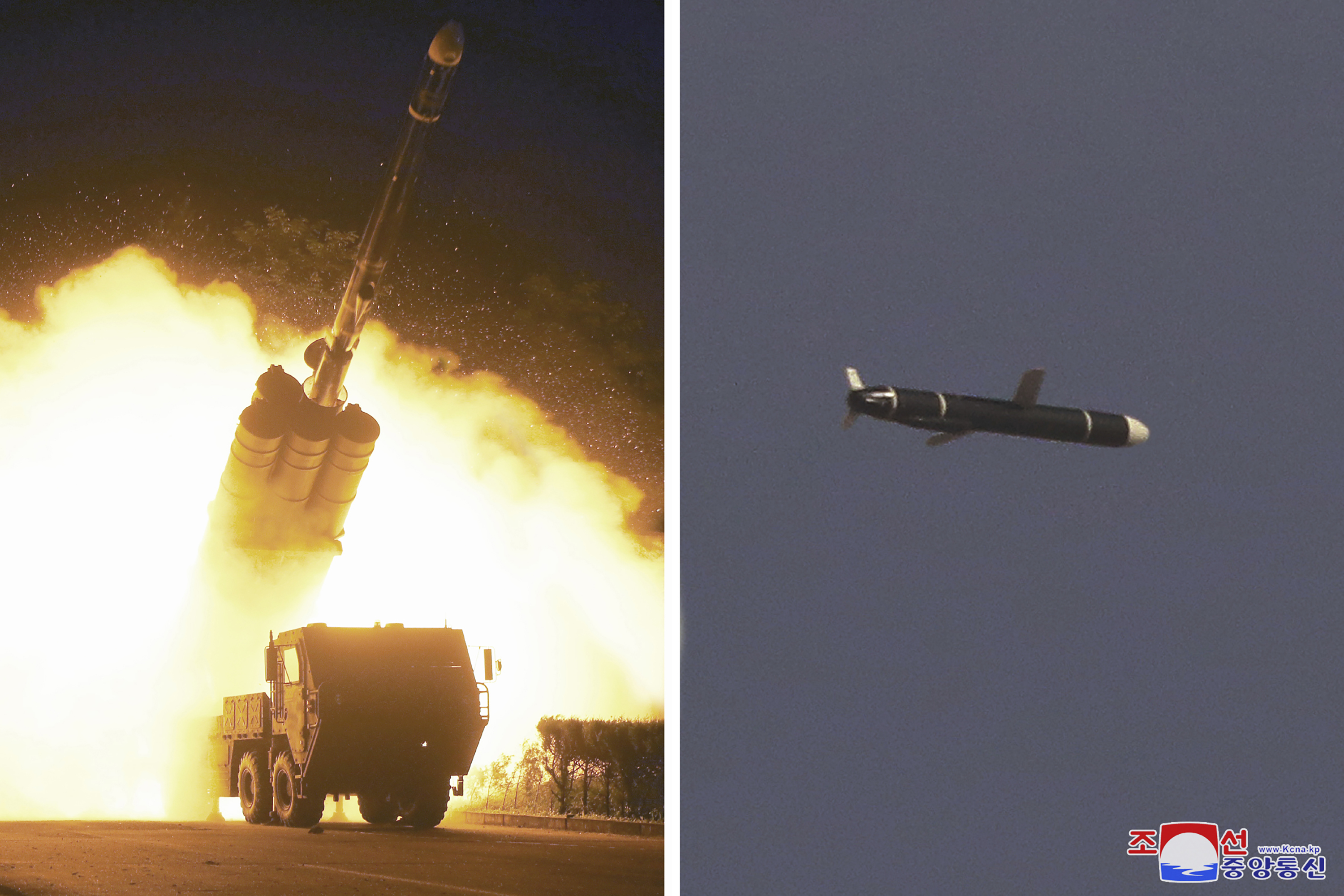 This combination of photos provided by the North Korean government on Monday, Sept. 13, 2021, shows long-range cruise missiles tests held on Sept. 11 -12, 2021 in an undisclosed location of North Korea. North Korea says it successfully test fired what it described as newly developed long-range cruise missiles over the weekend, its first known testing activity in months that underscored how it continues to expand its military capabilities amid a stalemate in nuclear negotiations with the United States. Independent journalists were not given access to cover the event depicted in this image distributed by the North Korean government. The content of this image is as provided and cannot be independently verified. Korean language watermark on image as provided by source reads:  KCNA  which is the abbreviation for Korean Central News Agency.