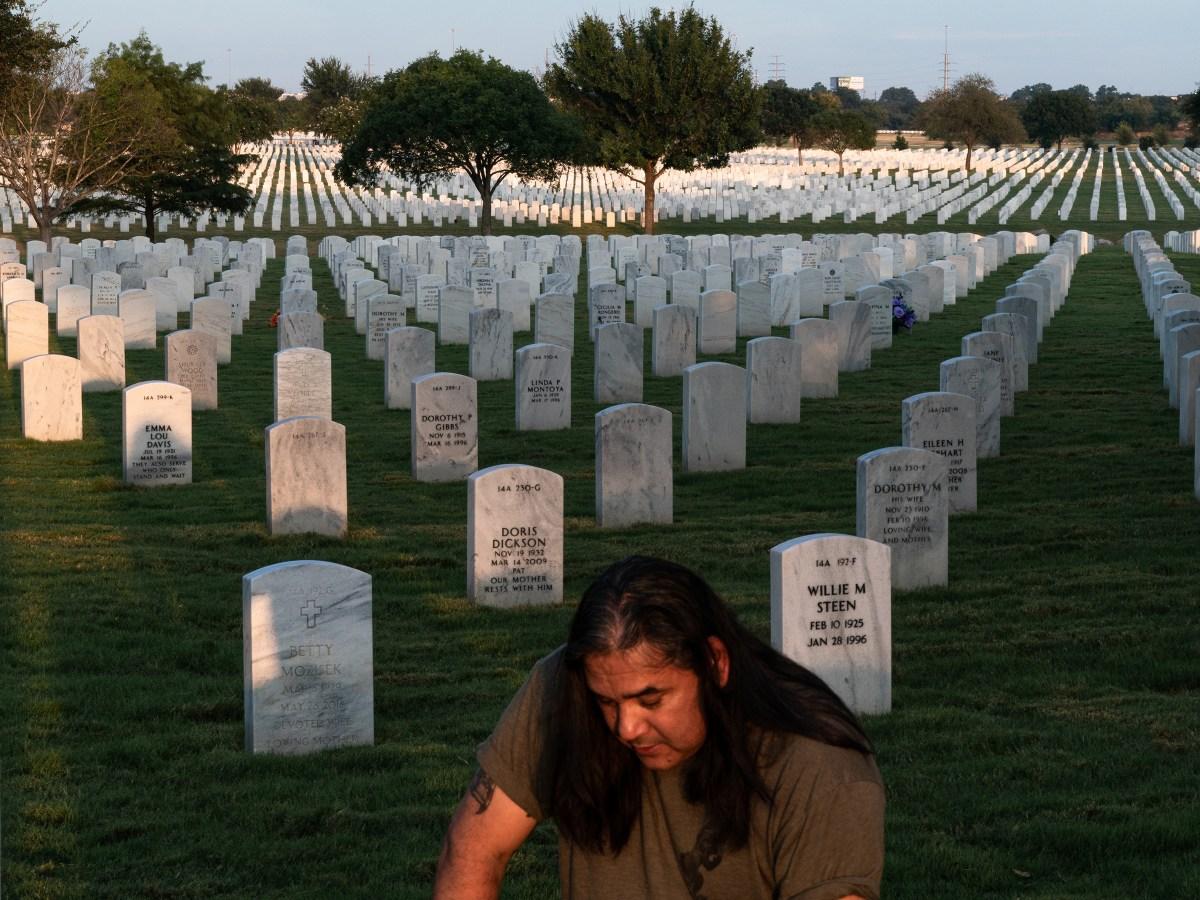 Javier Gutierrez at his son's grave.