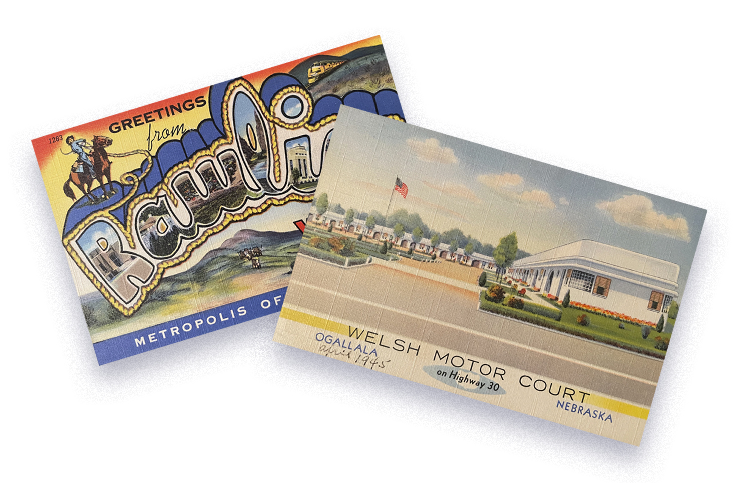 Towles sought out vintage postcards from specific towns after realizing they would form a trail in the new book.