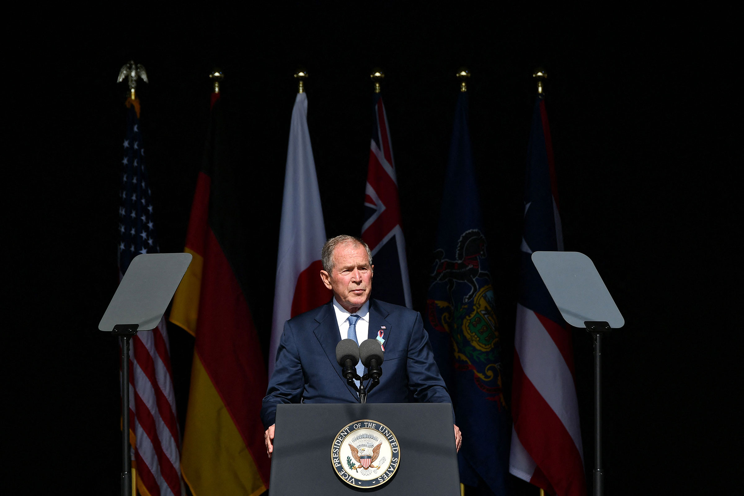 Former President George W. Bush speaks during a 9/11 commemoration at the Flight 93 National Memorial in Shanksville, Pa. on Sept. 11, 2021.