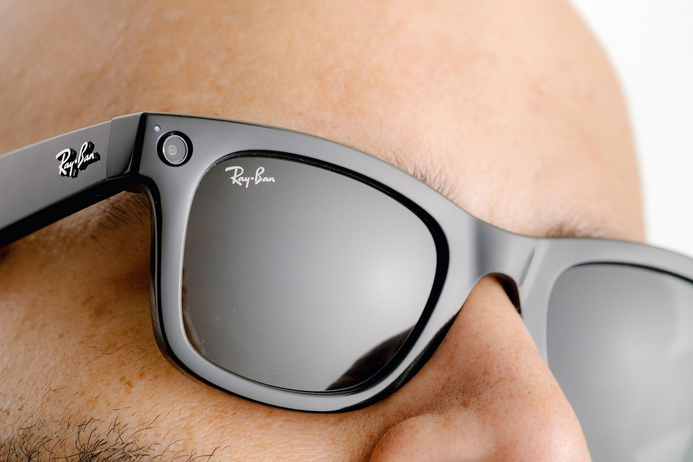 The Ray-Ban Stories, a new line of eyewear by Facebook and Ray-Ban, in San Francisco on Sept. 8, 2021. Facebook has teamed up with Ray-Ban to create glasses that can take photos, record video, answer phone calls and play podcasts.