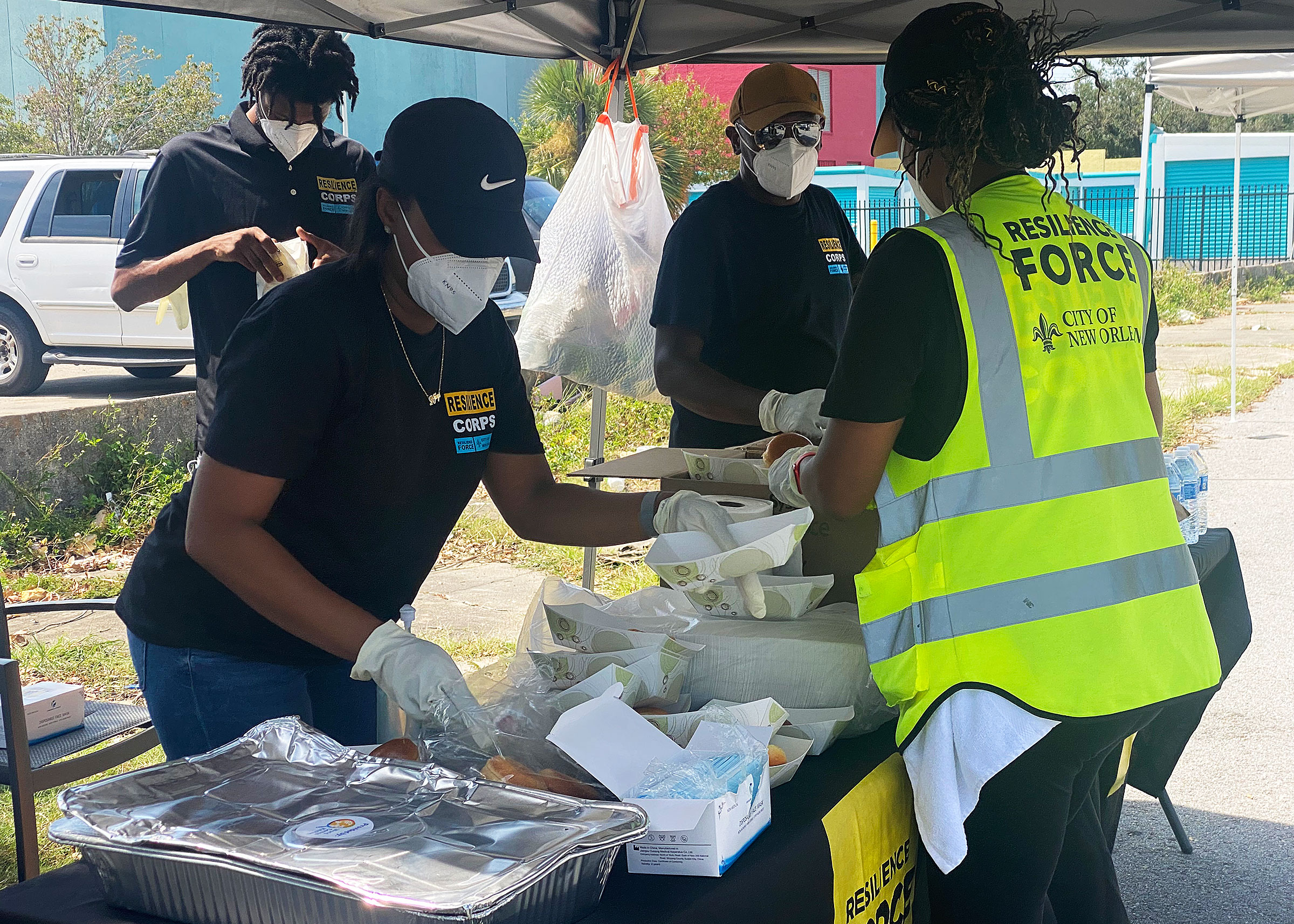 Workers at a food distribution event that the Resilience Force held in collaboration with World Central Kitchen in September 2021.