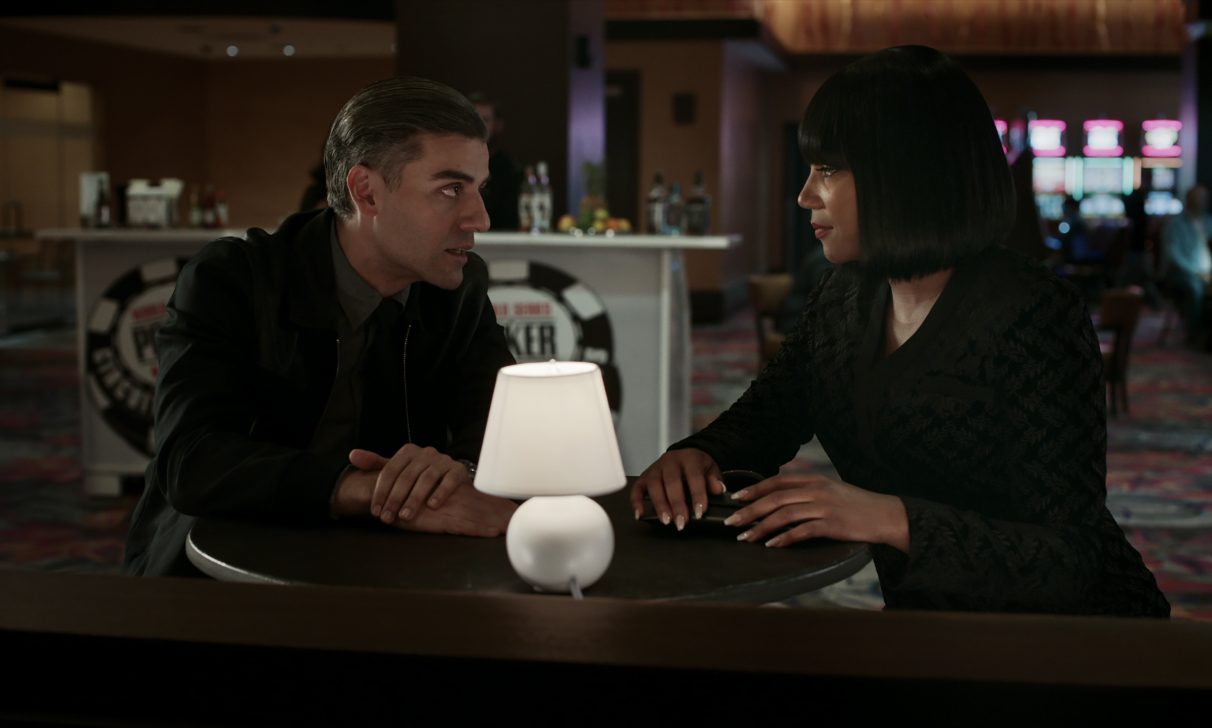 Oscar Isaac as William Tell and Tiffany Haddish as La Linda in The Card Counter.