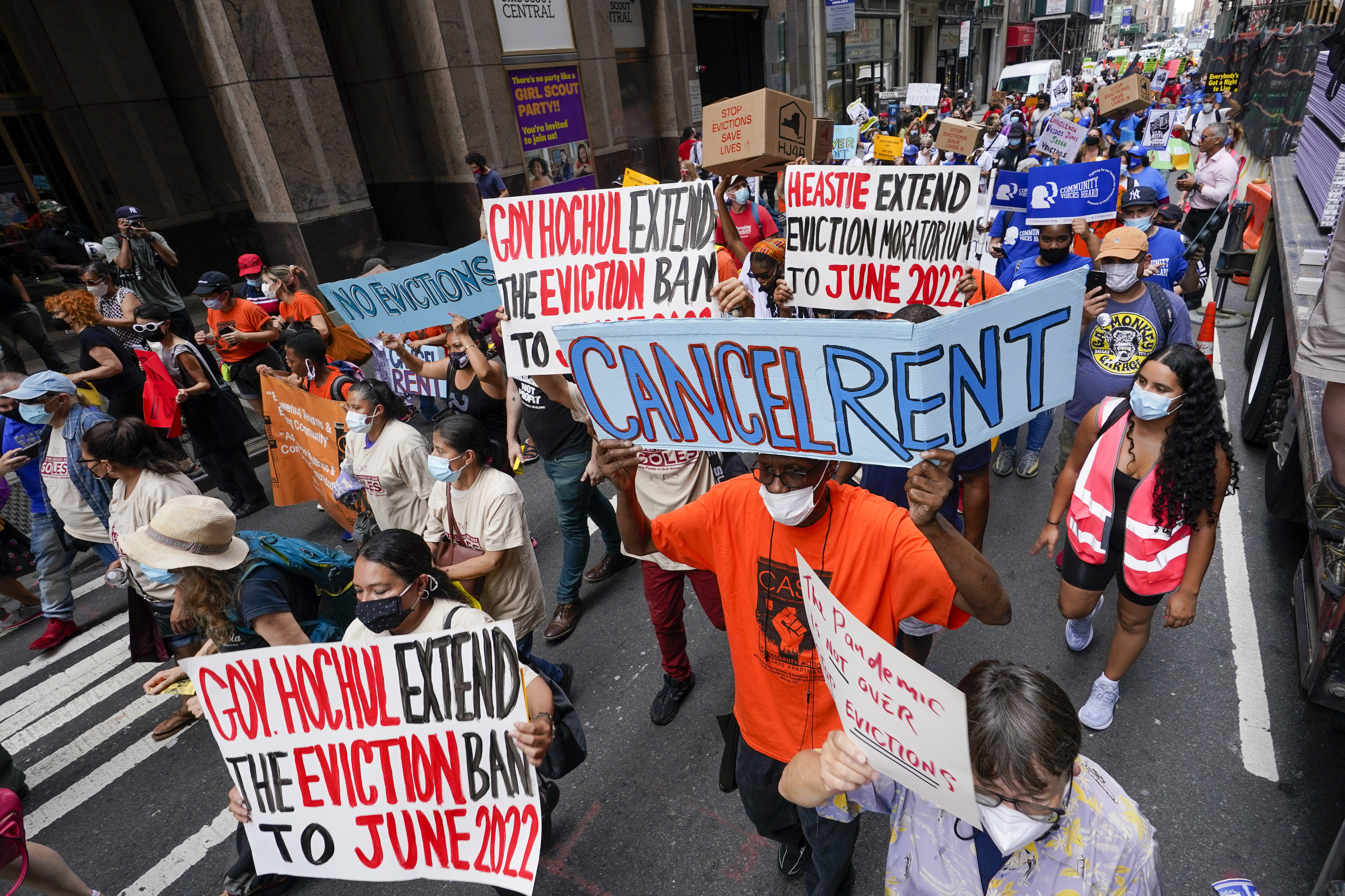 Activist march across town towards New York Gov. Kathy Hochul office, Aug. 31, 2021, in New York, during a demonstration to extend pandemic era eviction protections in wake of Supreme Court decision lifting the moratorium.