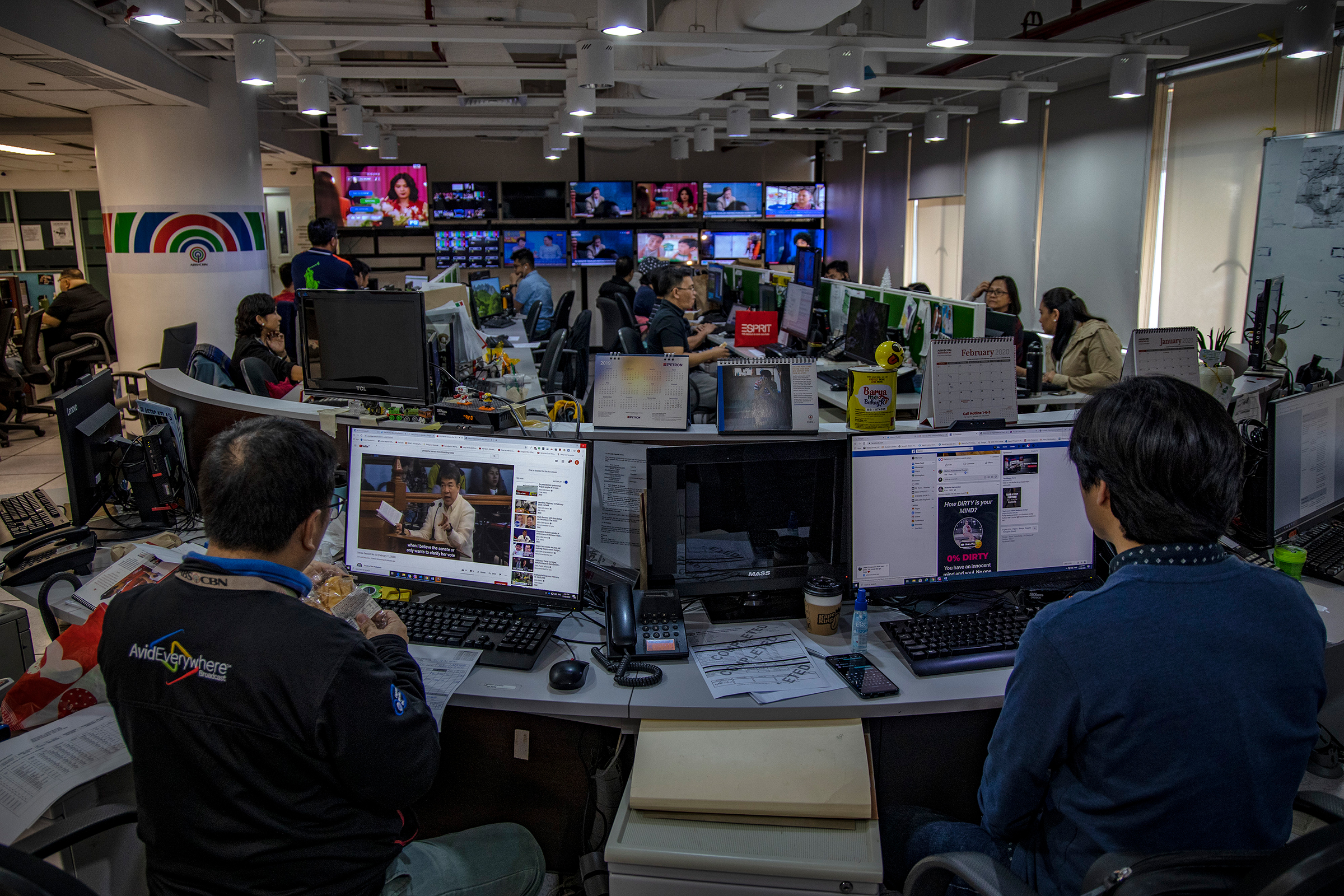 Reporters and editors in the newsroom of ABS-CBN News in Quezon City, Metro Manila, on Feb. 11, 2020.