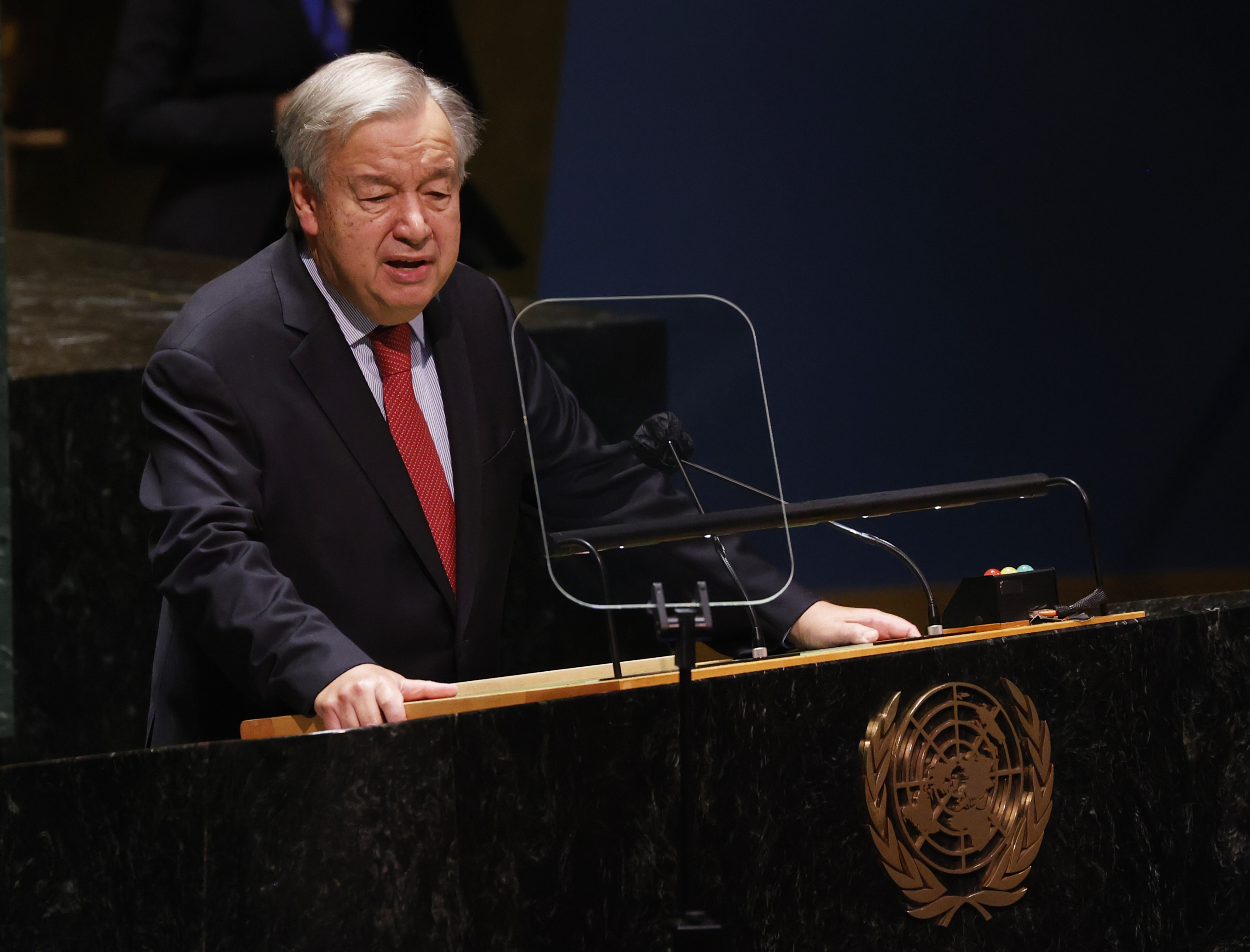 United Nations Secretary-General Antonio Guterres speaks at the United Nations headquarters in New York, on Wednesday, Sept. 22, 2021.