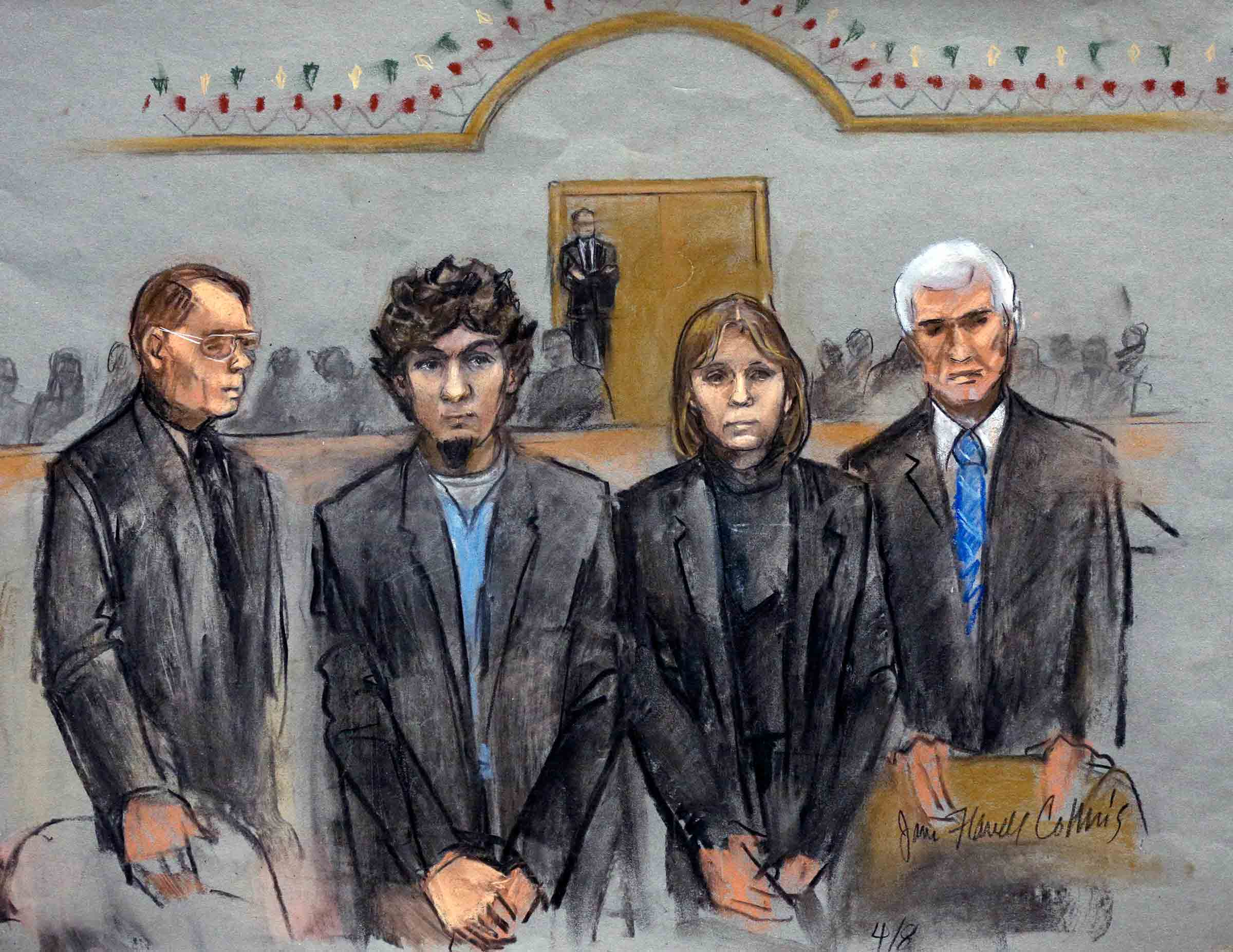 Courtroom sketch of Dzhokhar Tsarnaev, second from left standing with his defense attorneys William Fick, left, Judy Clarke, second from right, and David Bruck, right, as the jury presents its verdict in his federal death penalty trial Wednesday, April 8, 2015, in Boston