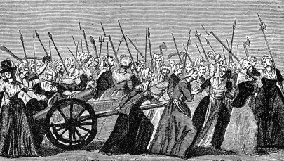 Illustration of a Women's March on Versailles in October 1789.