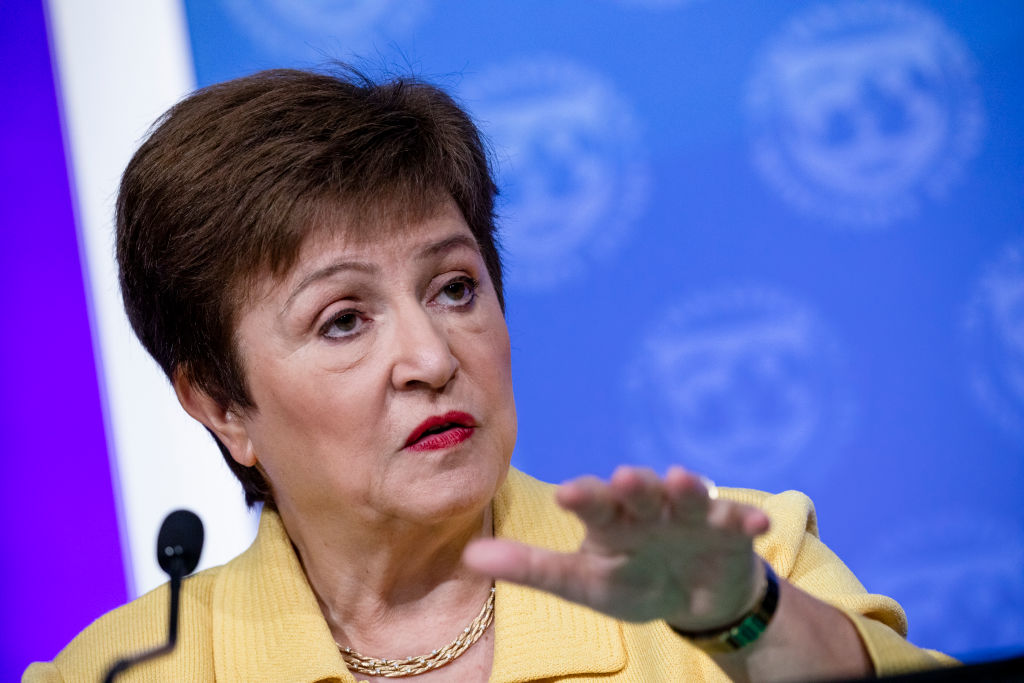 WASHINGTON, DC - MARCH 04: IMF Managing Director Kristalina Georgieva speaks during a joint press conference with World Bank Group President David Malpass on the recent developments of the coronavirus, COVID-19, and the organizations' responses on March 4, 2020 in Washington, DC. It was announced yesterday that the Annual Spring Meetings held by the IMF and World Bank in Washington, DC have been changed to virtual meetings due to concerns about COVID-19.