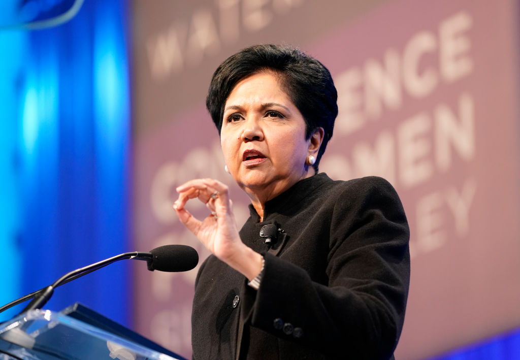 SAN JOSE, CALIFORNIA - FEBRUARY 12: Indra Nooyi speaks on stage during Watermark Conference For Women 2020 at San Jose Convention Center on February 12, 2020 in San Jose, California.