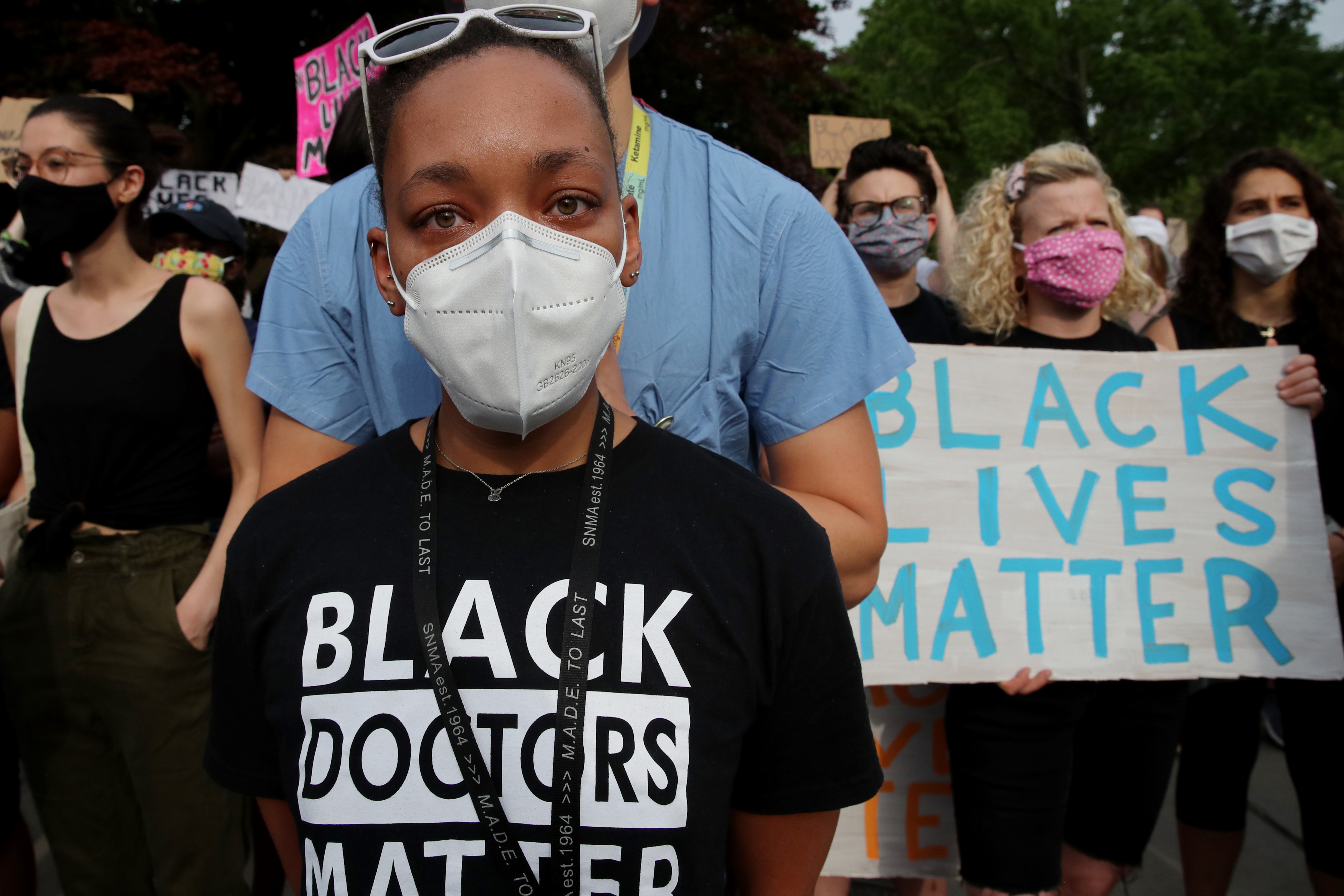 Dr. Alaina Geary during a vigil in Boston on June 4, 2020, in support of racial justice after the killing of George Floyd.