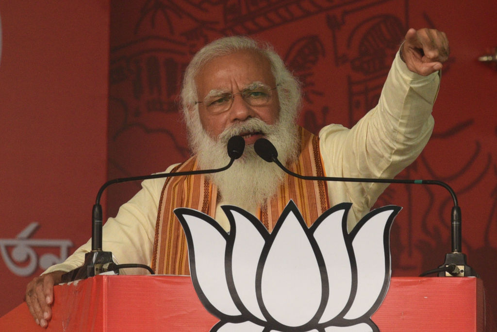 Prime Minister Narendra Modi addresses a public rally for the West Bengal Assembly Election on April 12, 2021 in the North 24 Parganas district, India.