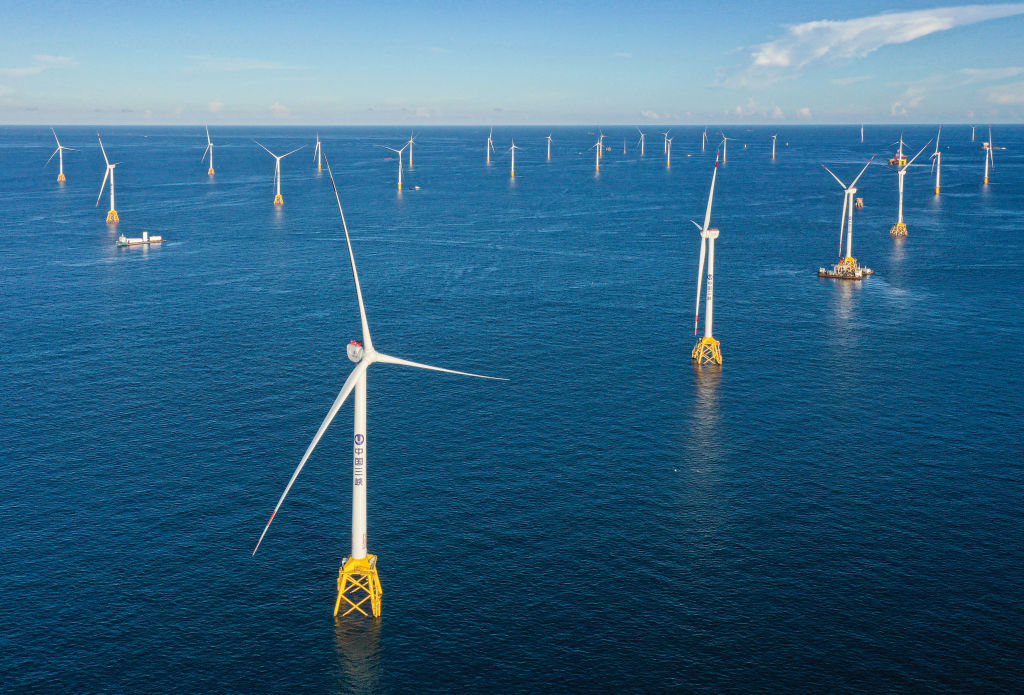 Aerial view of the construction site of an offshore wind farm, invested by China Three Gorges Renewables (Group) Co., Ltd, in Yangjiang, China, on July 15, 2021.