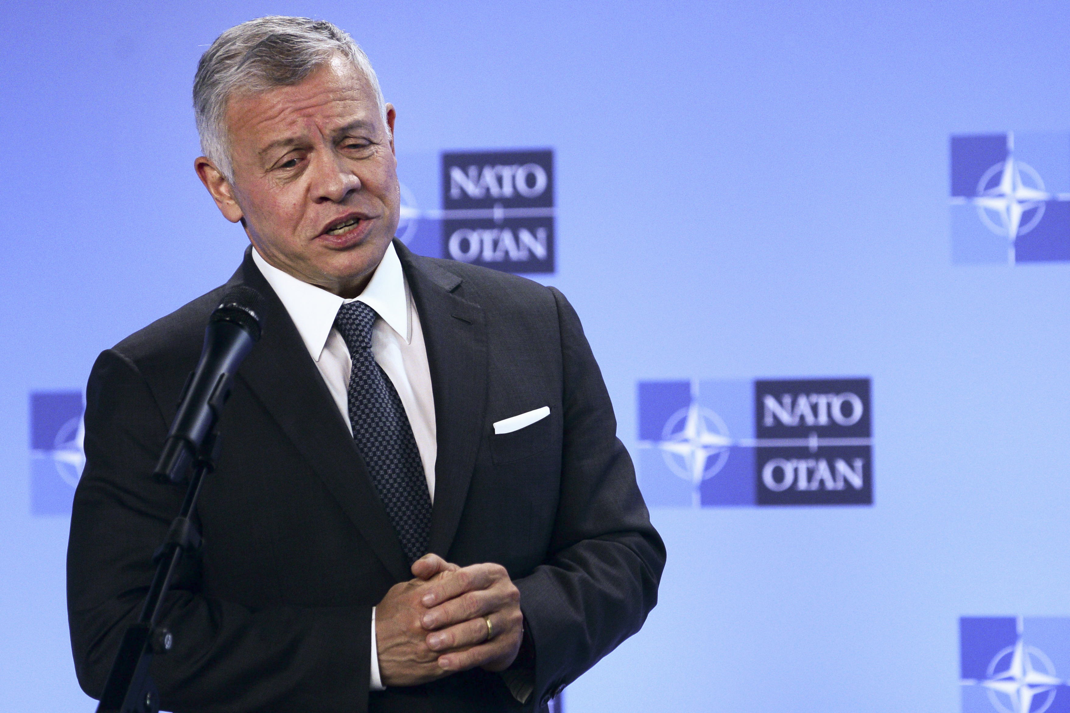 Jordan's King Abdullah II speaks during a media conference prior to a meeting with NATO Secretary General Jens Stoltenberg at NATO headquarters in Brussels, in this Wednesday, May 5, 2021.