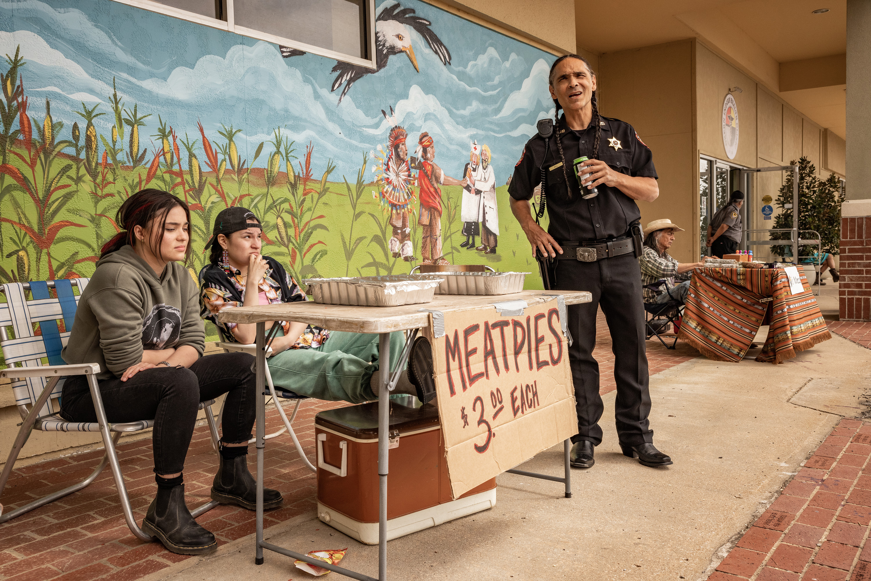 L-R: Devery Jacobs as Elora Danan Postoak, Paulina Alexis as Willie Jack, Zahn McLarnon as Big in 'Reservation Dogs'