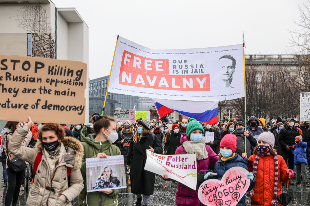 Some 2500 supporters of Russian opposition politician Alexei Navalny march in protest to demand his release from prison in Moscow on Jan. 23, 2021 in Berlin, Germany.
