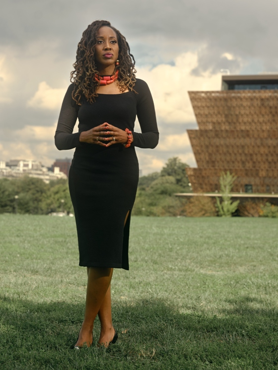Charlene Fadirepo, a banker and former government regulator, near the National Museum of African American History and Culture