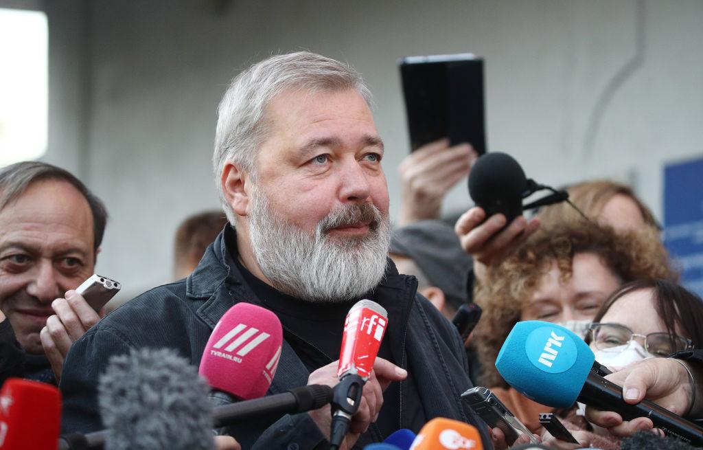 Novaya Gazeta newspaper editor-in-chief Dmitry Muratov talks to the media after winning the Nobel Peace Prize 2021 on Oct. 8 2021.
