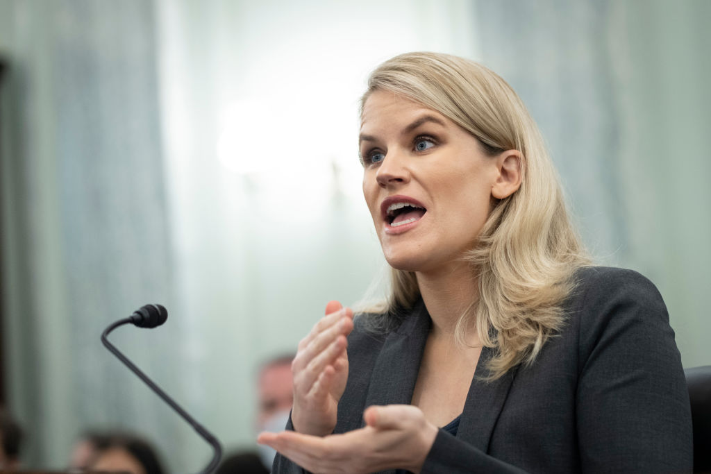 Former Facebook employee Frances Haugen testifies during a Senate Committee on Commerce, Science, and Transportation hearing entitled 'Protecting Kids Online: Testimony from a Facebook Whistleblower' on Capitol Hill Oct. 5, 2021 in Washington, DC.