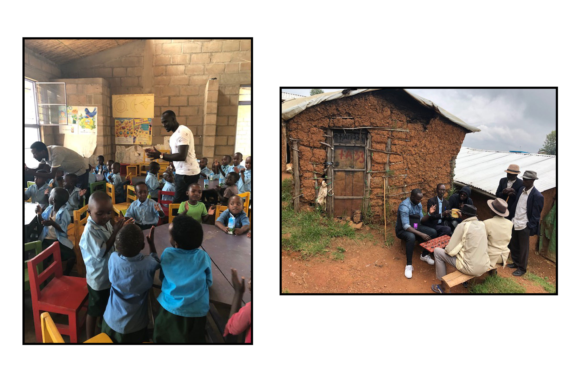 Left: The author visiting Nyabiheke primary school. Right: Playing mancala with community members in Gihembe.