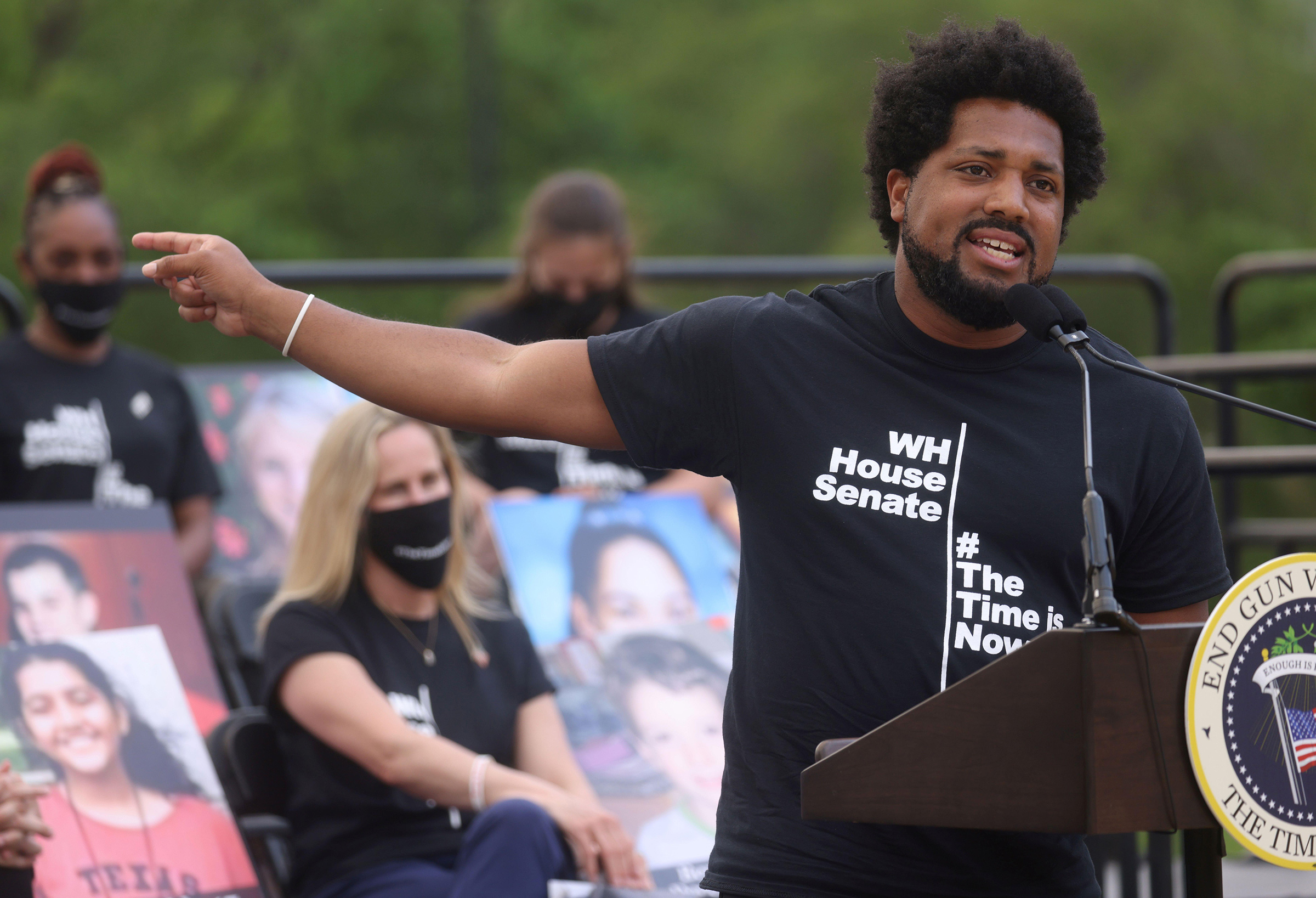 Greg Jackson, gun violence survivor and National Advocacy Director with the Community Justice Action Fund, speaks at the National Mall in Washington D.C. on April 29, 2021 .