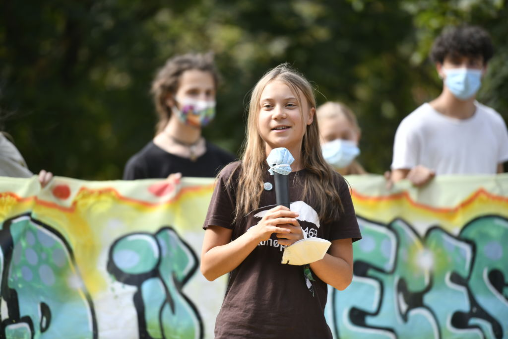 Greta Thunberg speaks during the climate strike march on Oct. 1, 2021 in Milan, Italy.