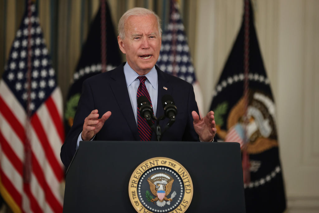 President Joe Biden delivers remarks about the need for Congress to raise the debt limit in the State Dining Room at the White House on Oct. 4, 2021 in Washington, DC.